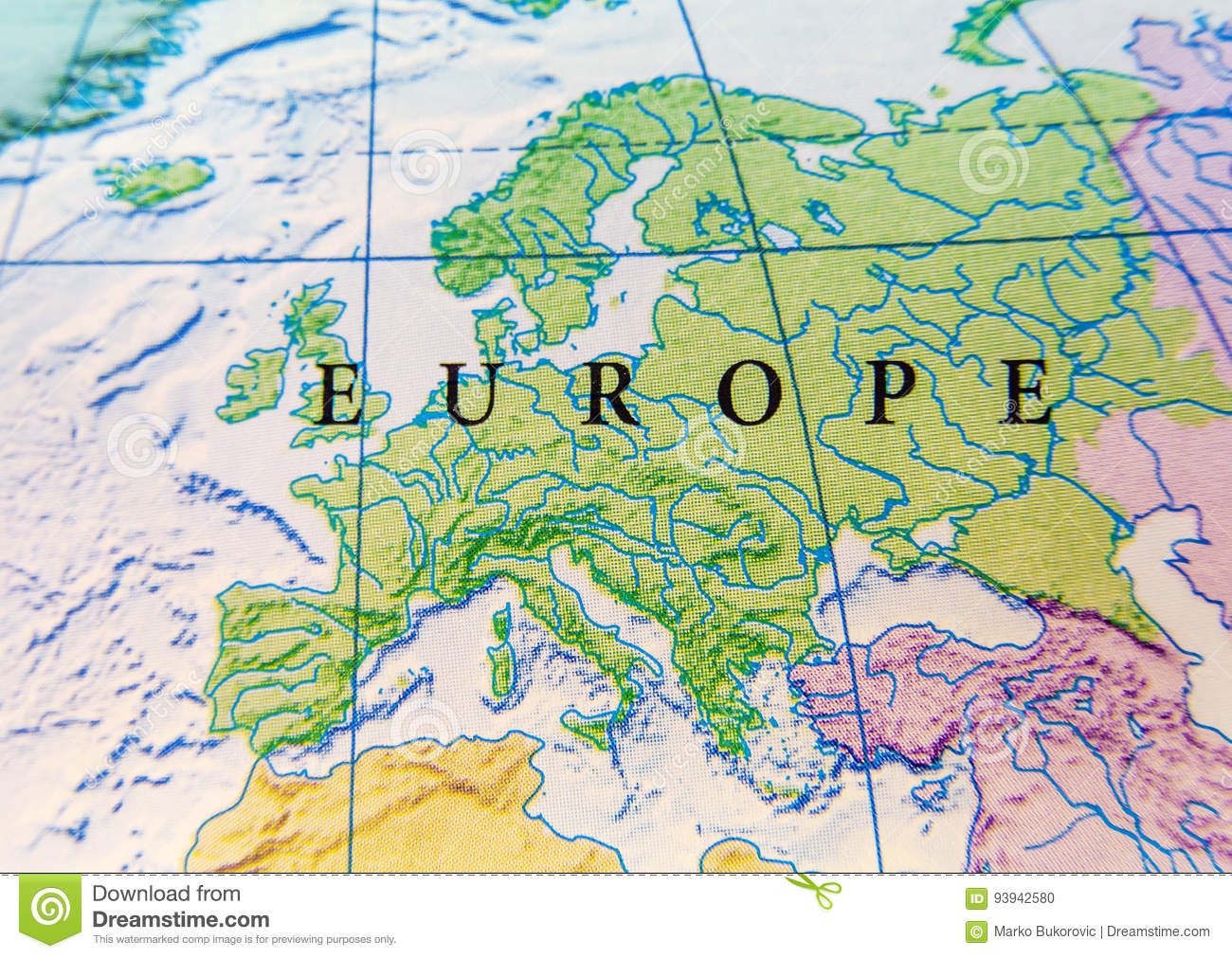 map of europe up close Geographic Map Of Europe Close Stock Photo   Image of atlas
