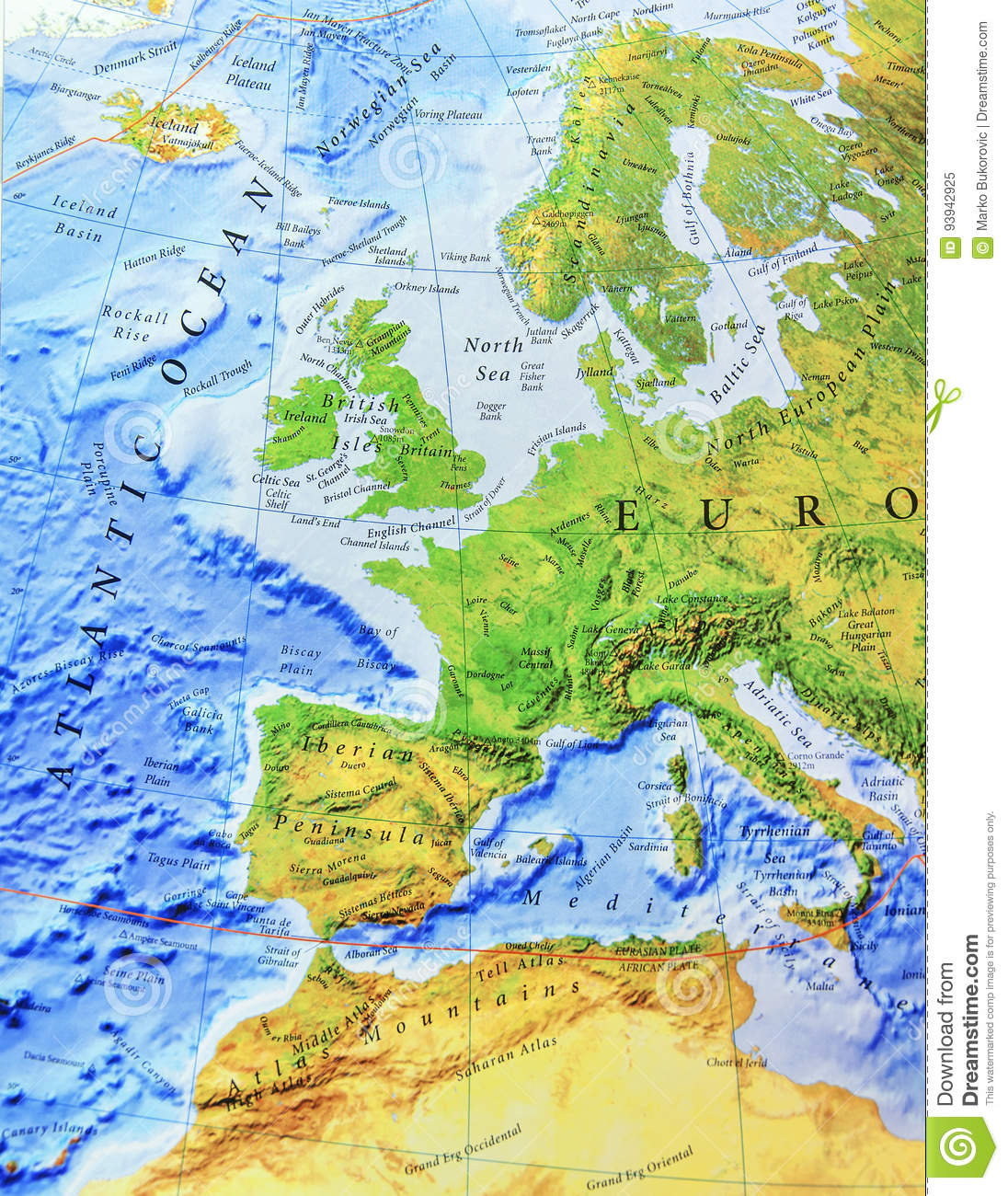 Geographic Map Of Europe Close Stock Image - Image of central ... on