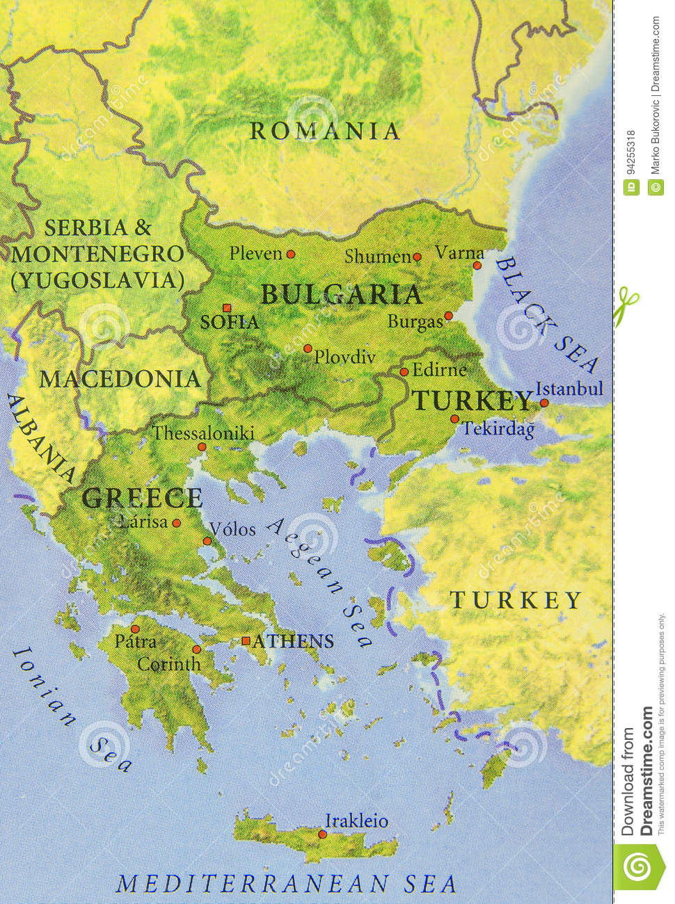Turkey And Greece Map.Geographic Map Of European Country Bulgaria Turkey And Greece Stock