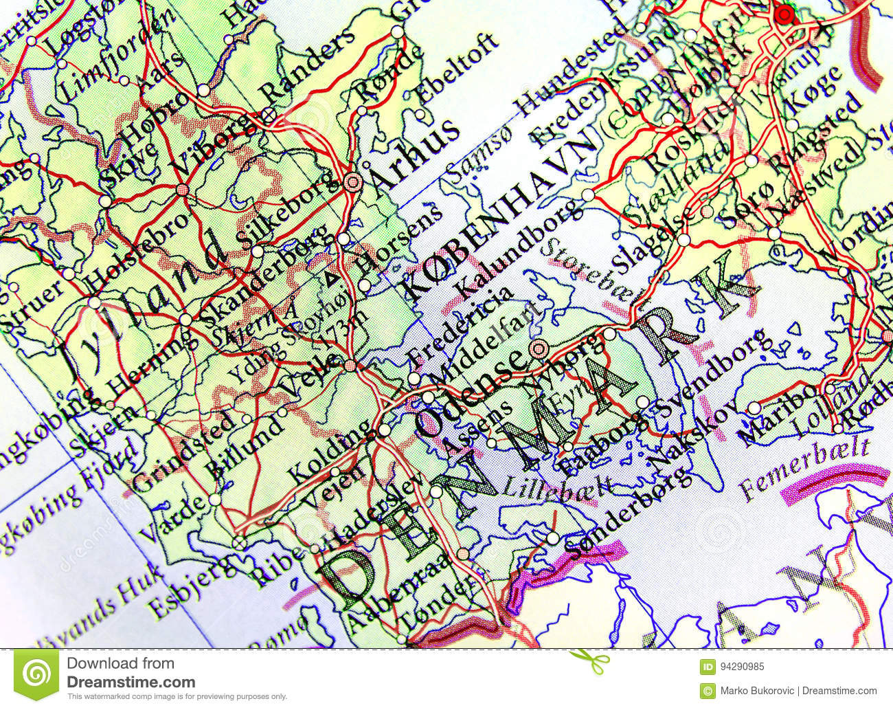 Geographic map of European country Denmark with important cities