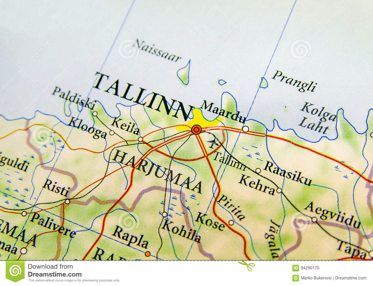 Geographic Map Of European Country Estonia With Capital City