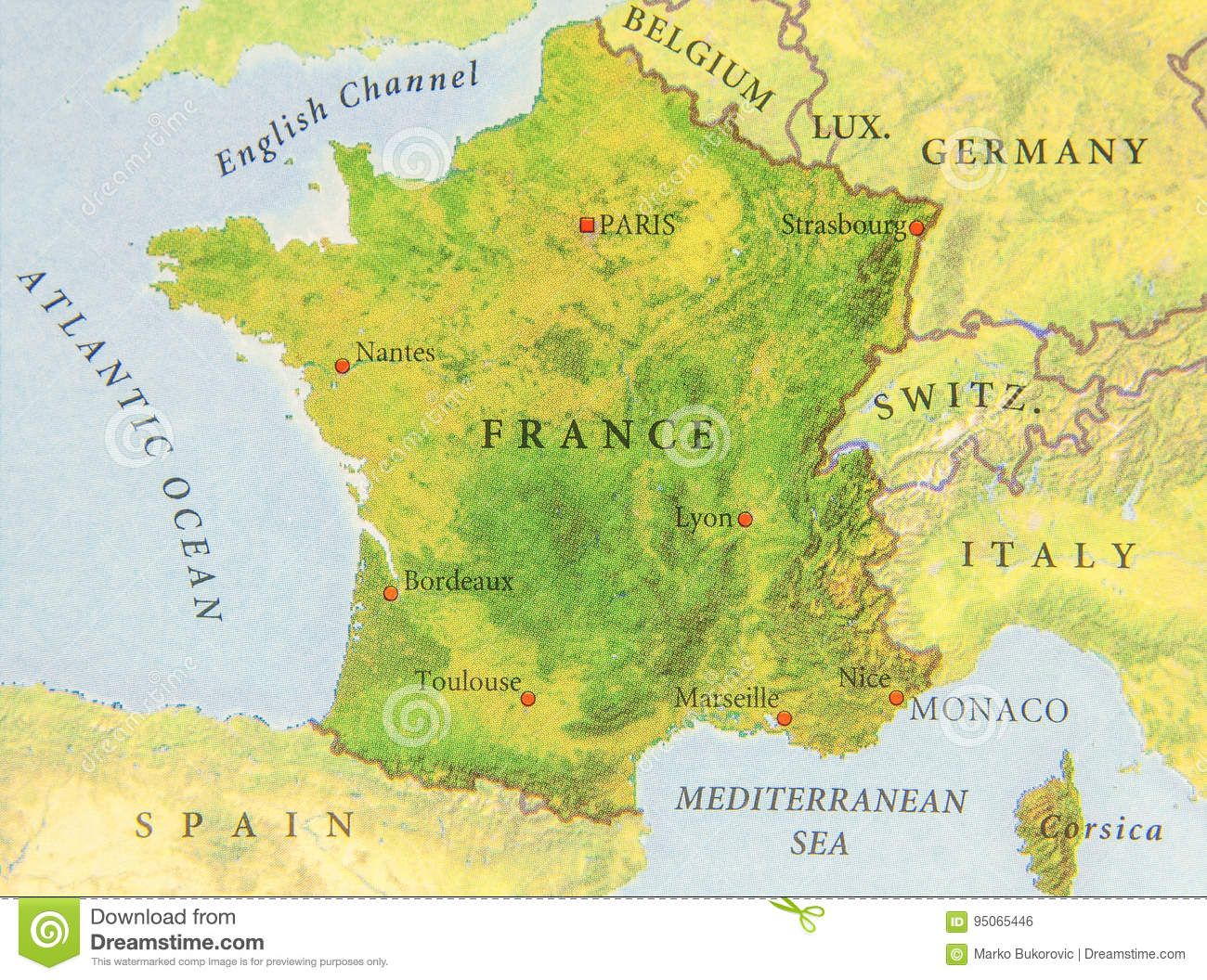 Geographic Map Of European Country France Close Stock Photo Image - French map of europe