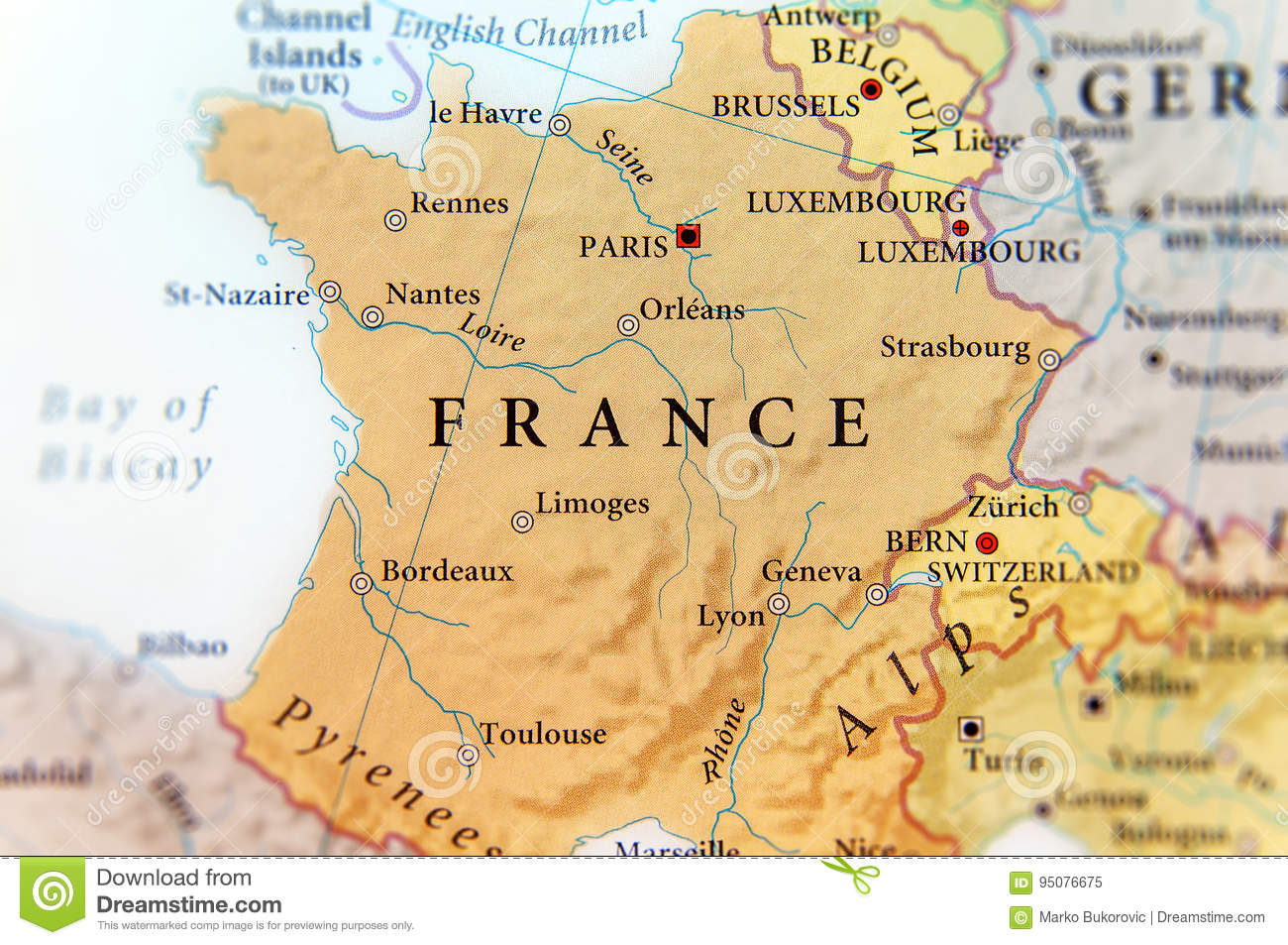 Geographic Map Of European Country France With Important Cities ...