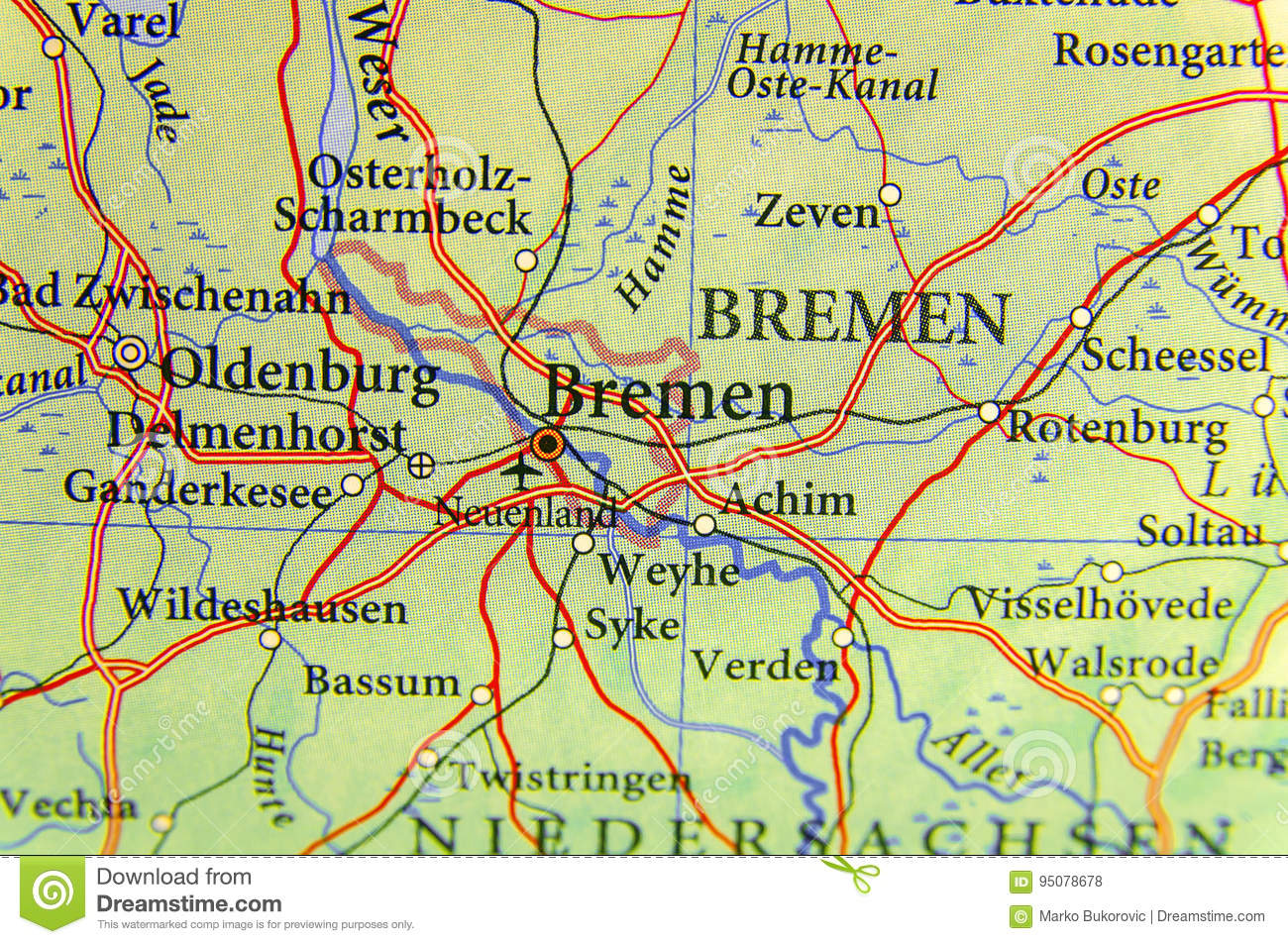 Geographic Map Of European Country Germany With Bremen City Stock ...