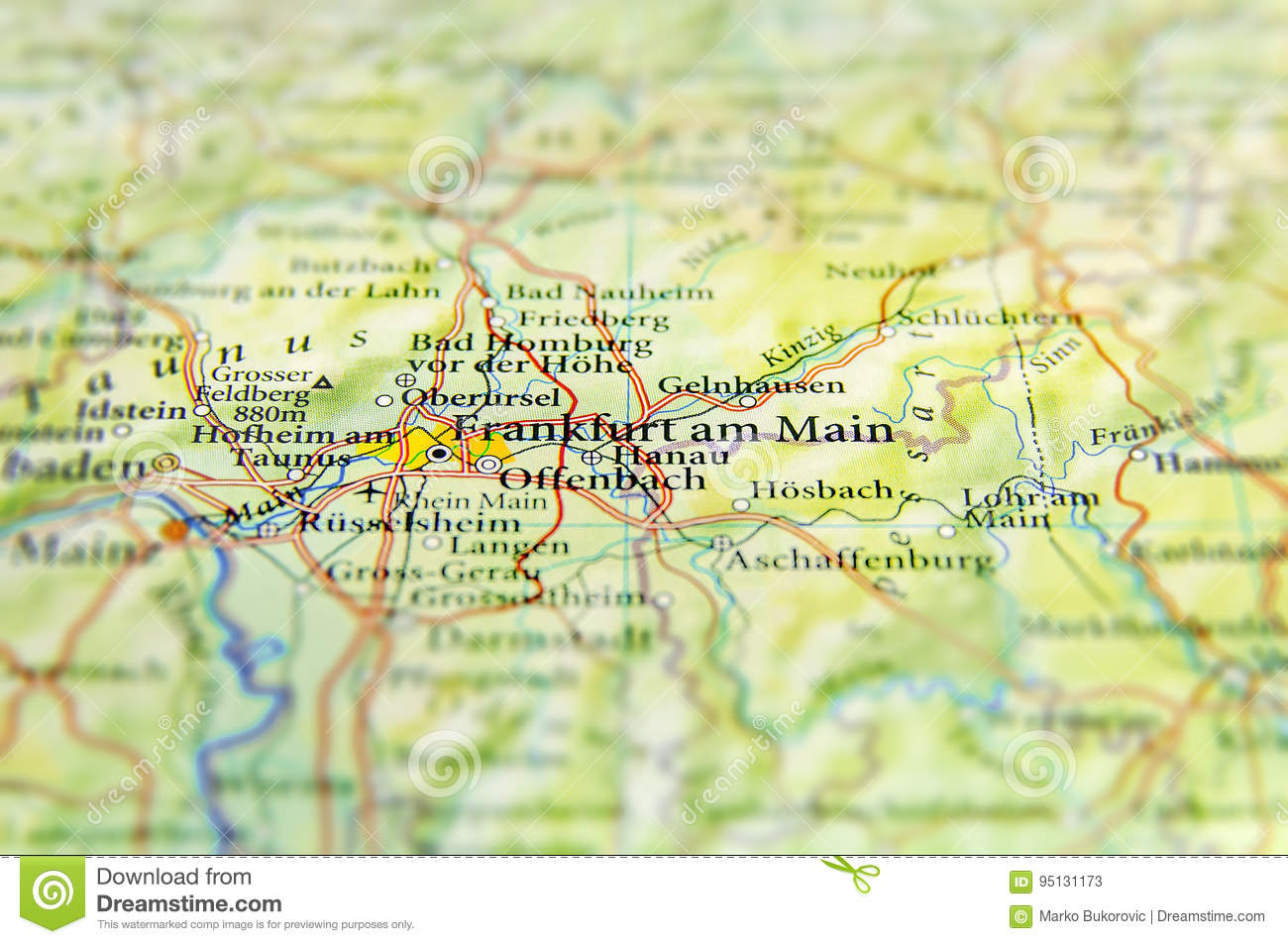 Geographic Map Of European Country Germany With Frankfurt City Stock ...
