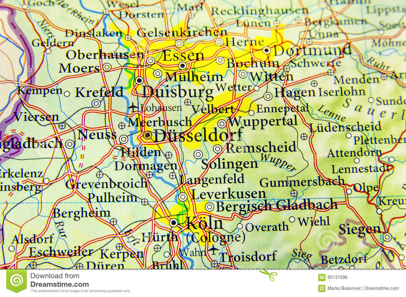Map Of Germany Gelsenkirchen.Geographic Map Of European Country Germany With Important Cities