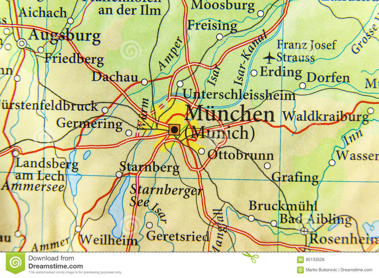 Freising Germany Map.Geographic Map Of European Country Germany With Munich City Stock