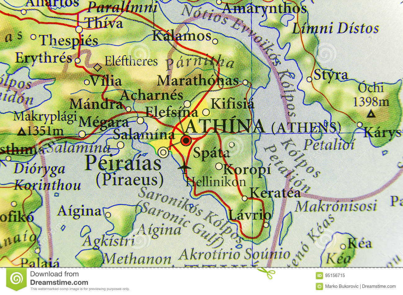 Country Of Greece Map.Geographic Map Of European Country Greece With Athens City Stock