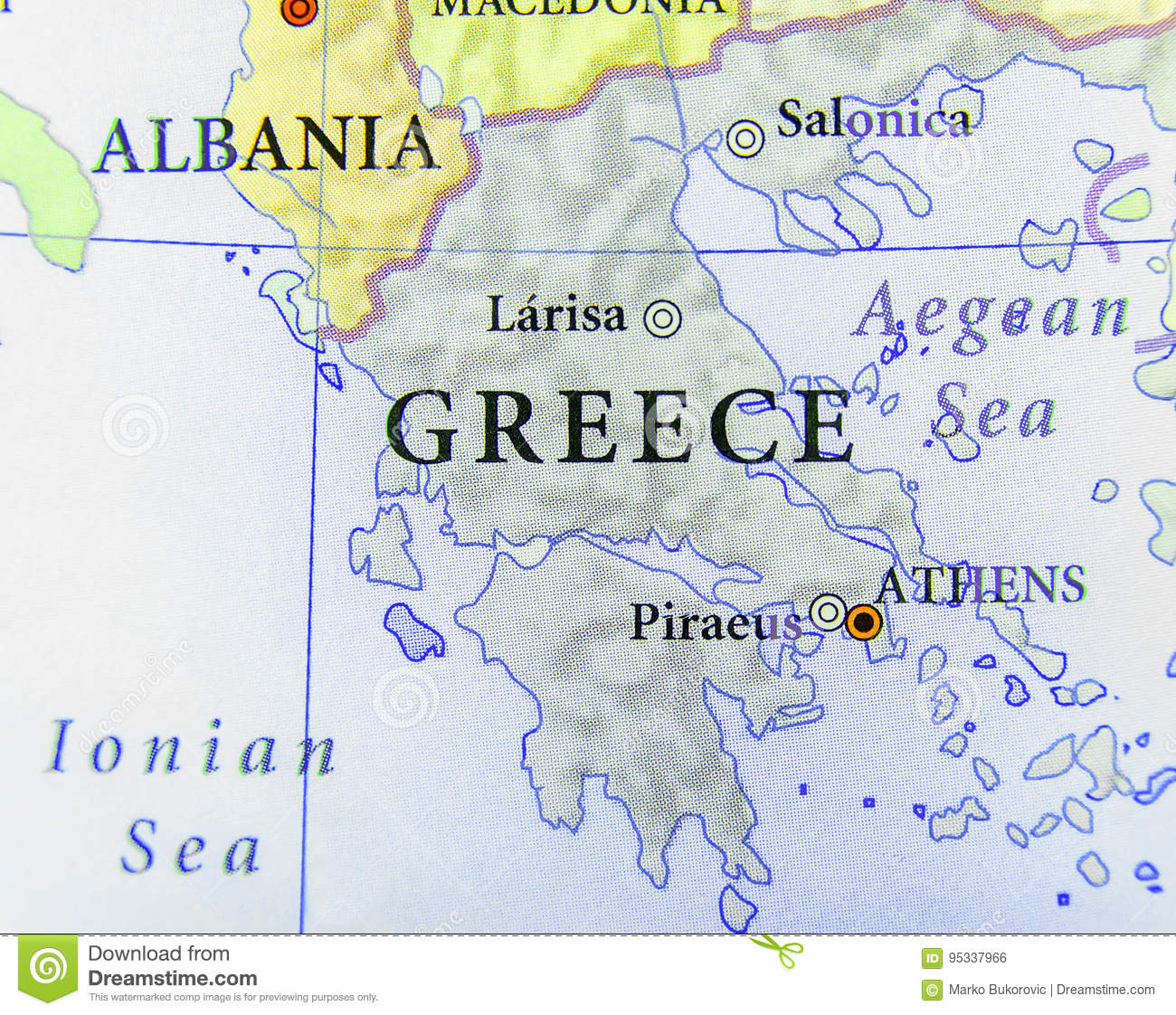Picture of: Geographic Map Of European Country Greece With Important Cities Stock Photo Image Of Close Tourism 95337966