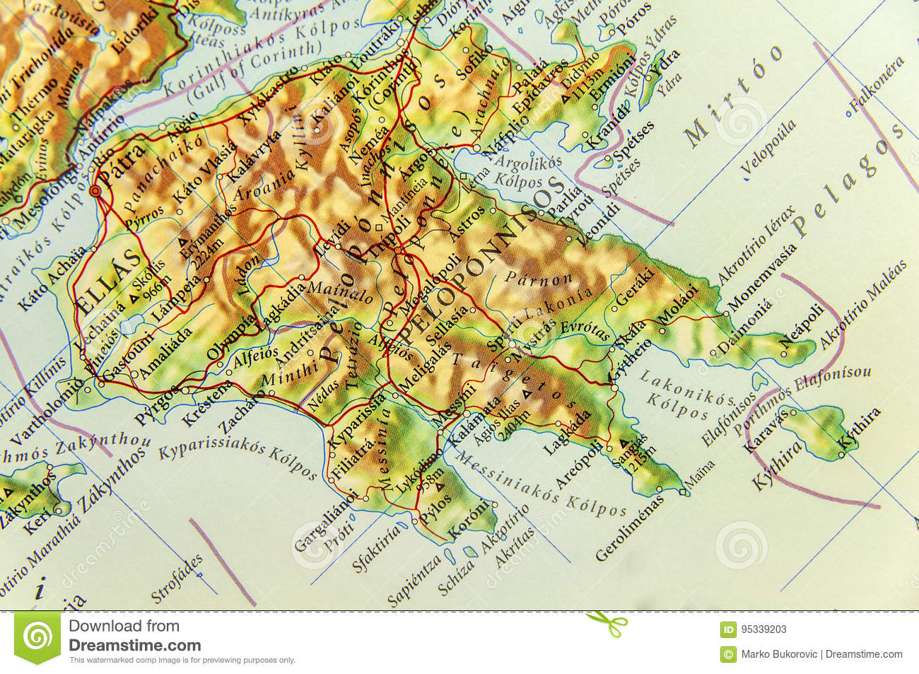 Picture of: Geographic Map Of European Country Greece With Peloponnese Island Stock Image Image Of Geographic Atlas 95339203