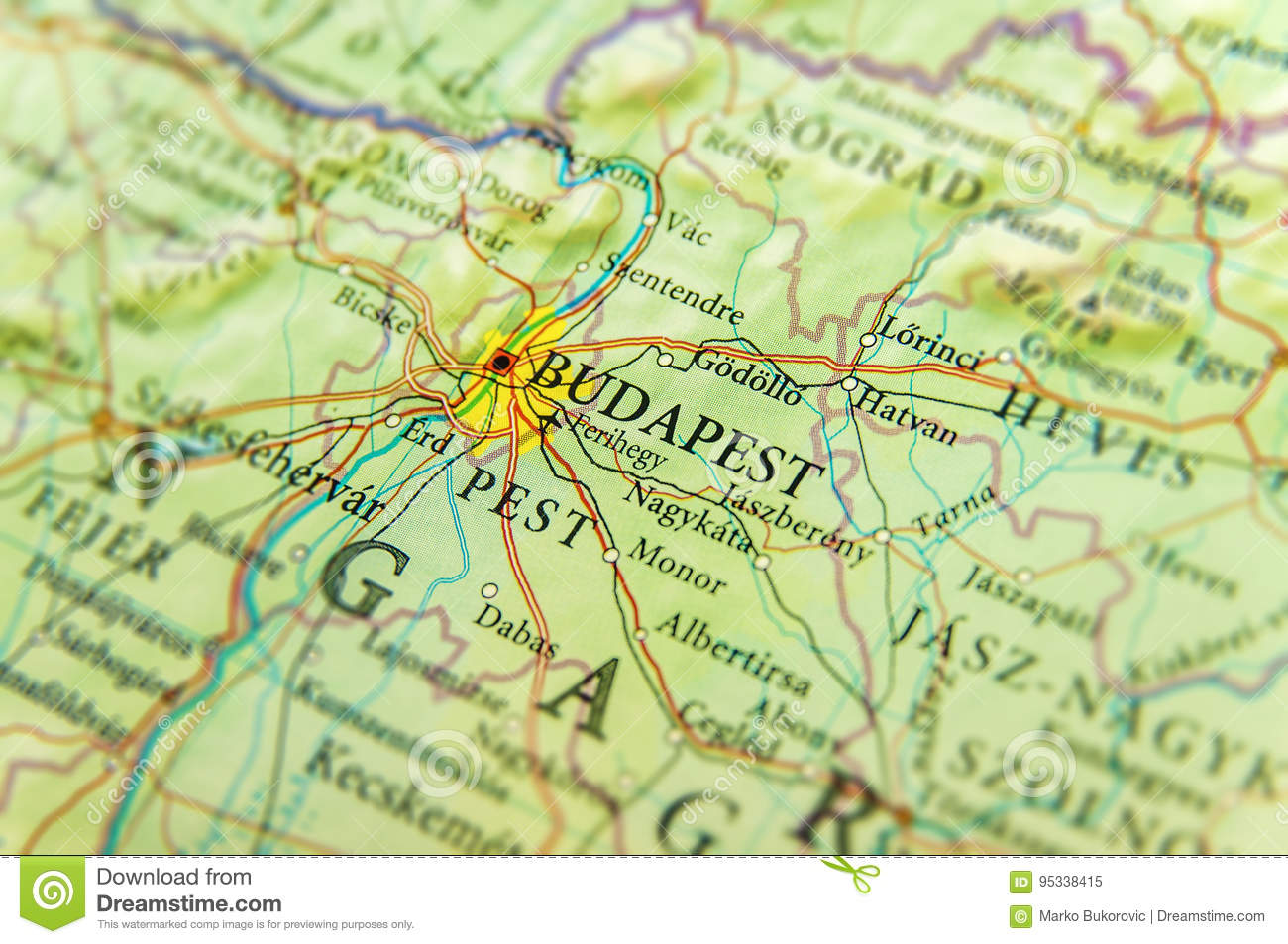 Budapest On Europe Map.Geographic Map Of European Country Hungary With Budapest City Stock