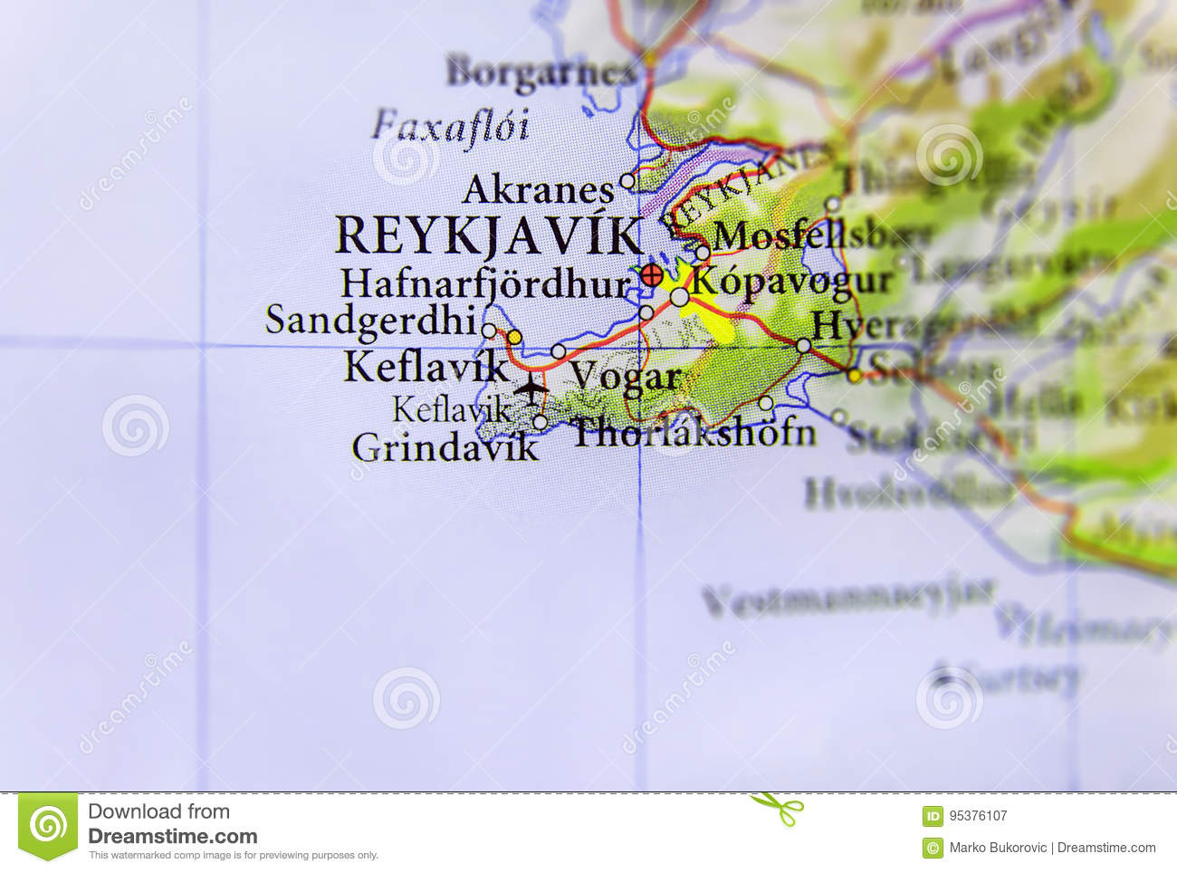 Geographic Map Of European Country Island With Reykjavik Capital