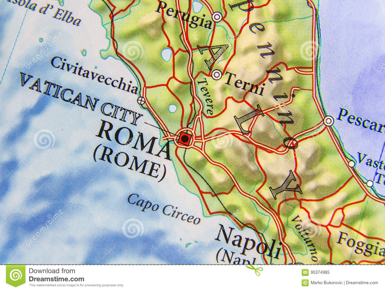Geographic Map Of European Country Italy With Capital City Rome