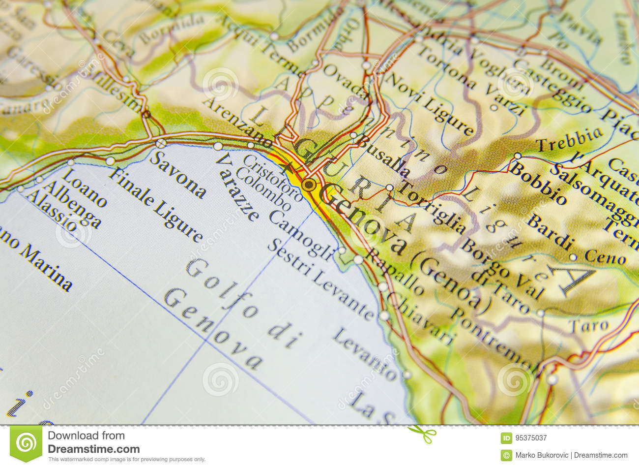 Geographic Map Of European Country Italy With Genova City Stock