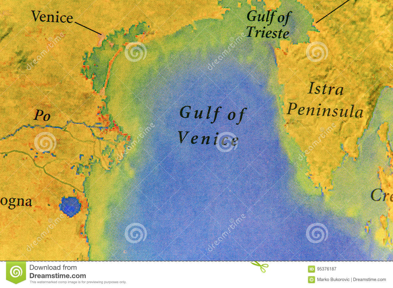 Geographic Map Of European Country Italy With Gulf Of Venice Stock