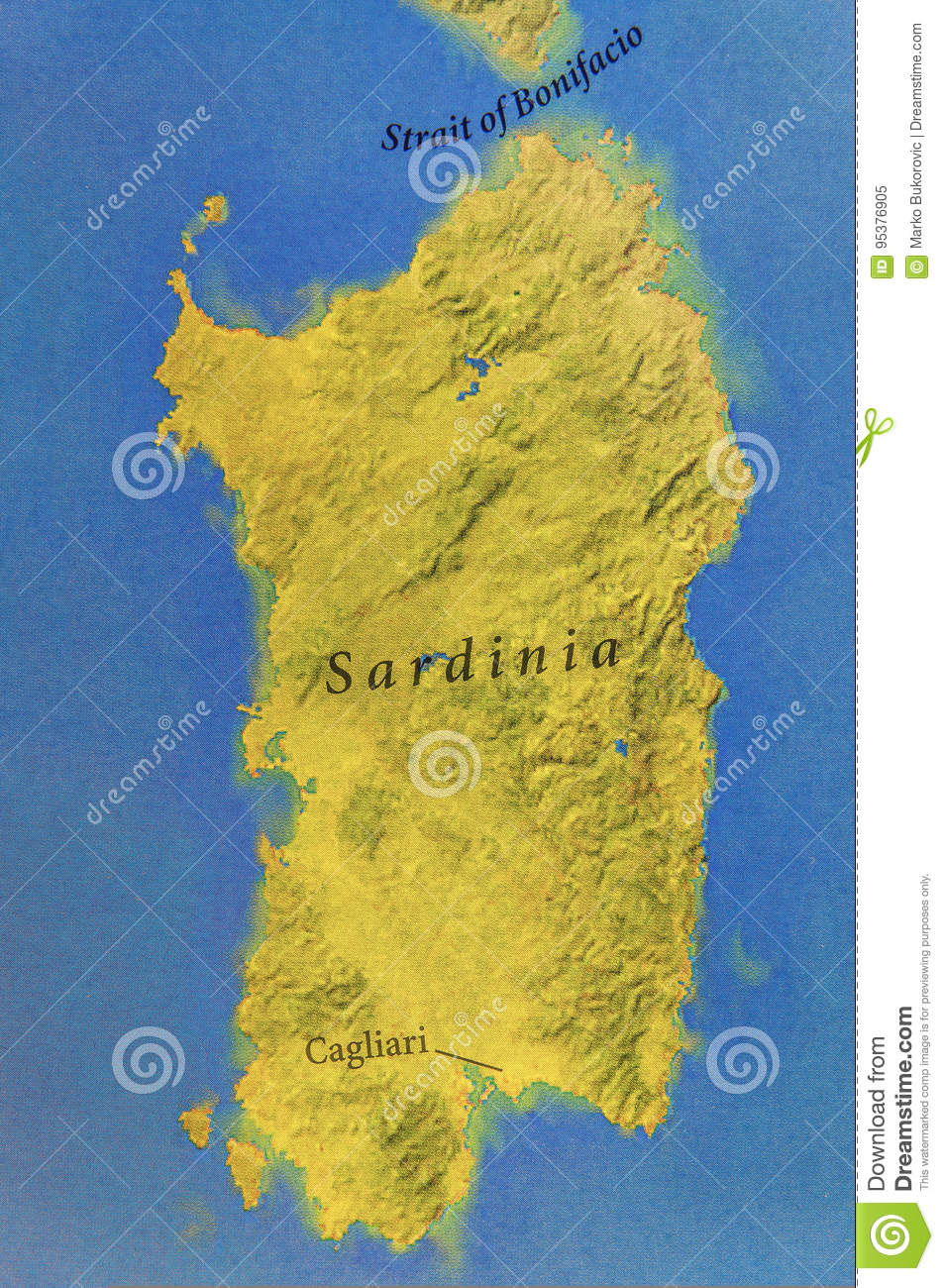 Map Of Italy And Islands.Geographic Map Of European Country Italy With Island Sardinia Stock