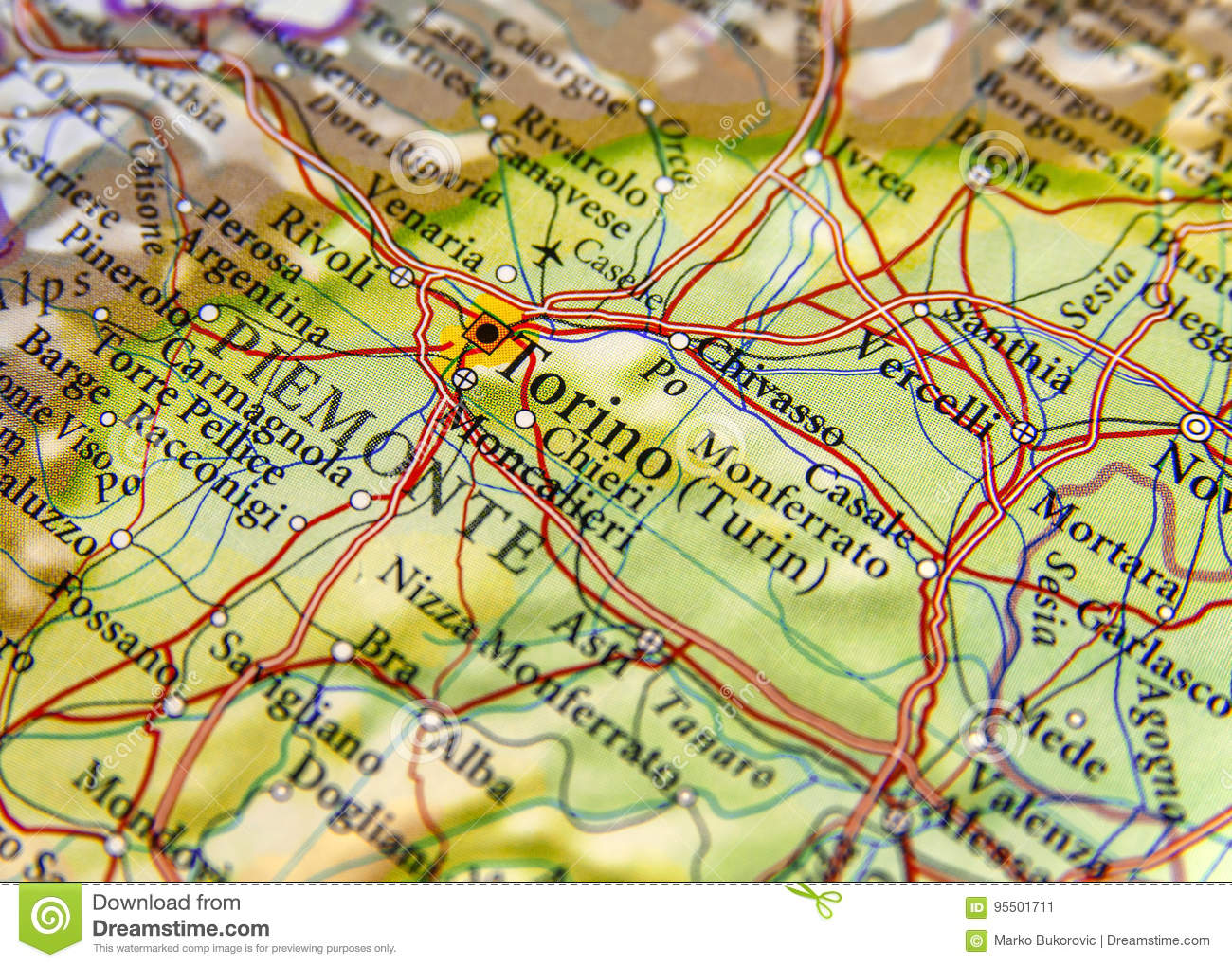 Map Of Italy Torino.Geographic Map Of European Country Italy With Torino City Stock