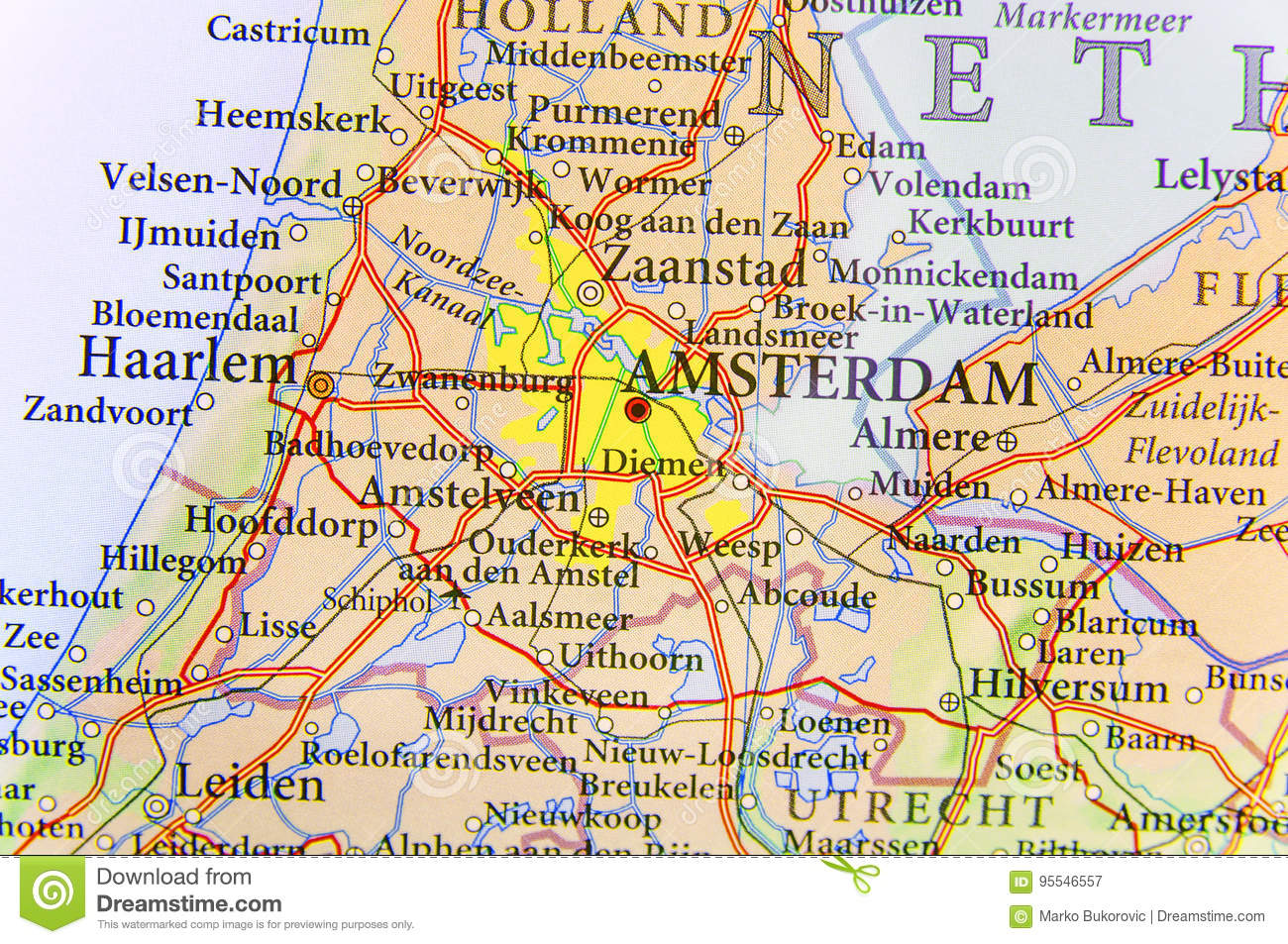 Cartina Amsterdam Download.Geographic Map Of European Country Netherlands With Amsterdam