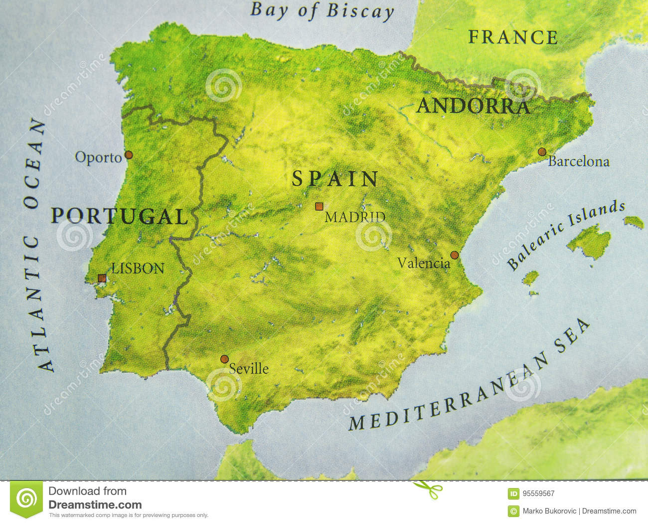 Map Of Portugal And Spain.Geographic Map Of European Country Portugal And Spain With Important