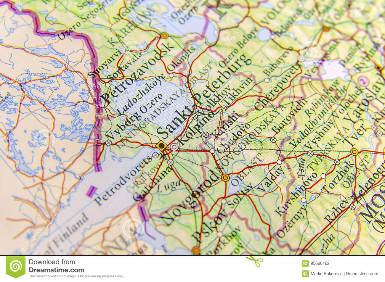 Geographic Map Of European Country Russia With City Sankt-Peterburg ...
