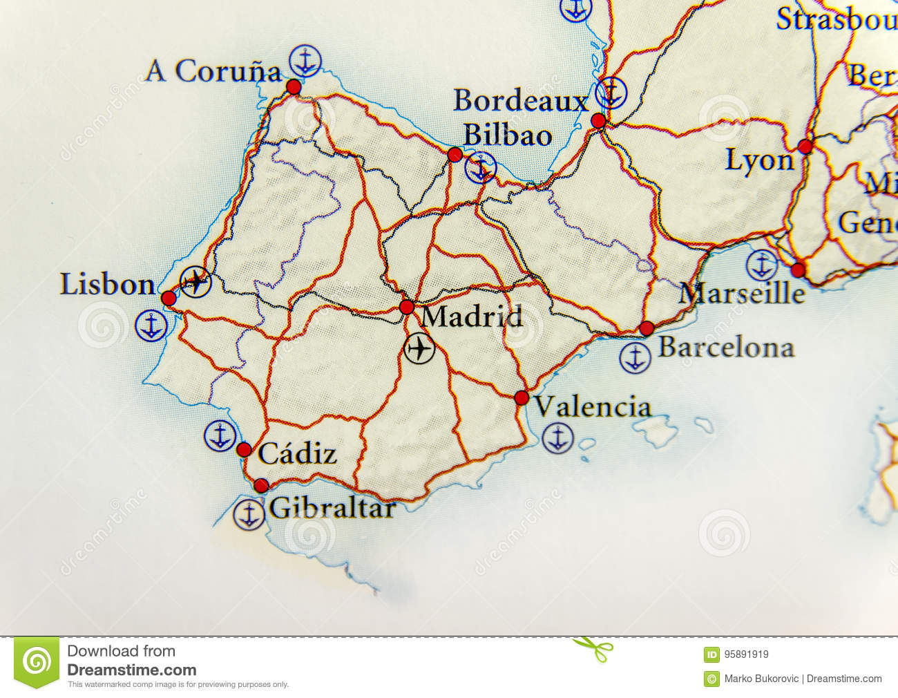 Country Of Spain Map.Geographic Map Of European Country Spain With Important Cities And