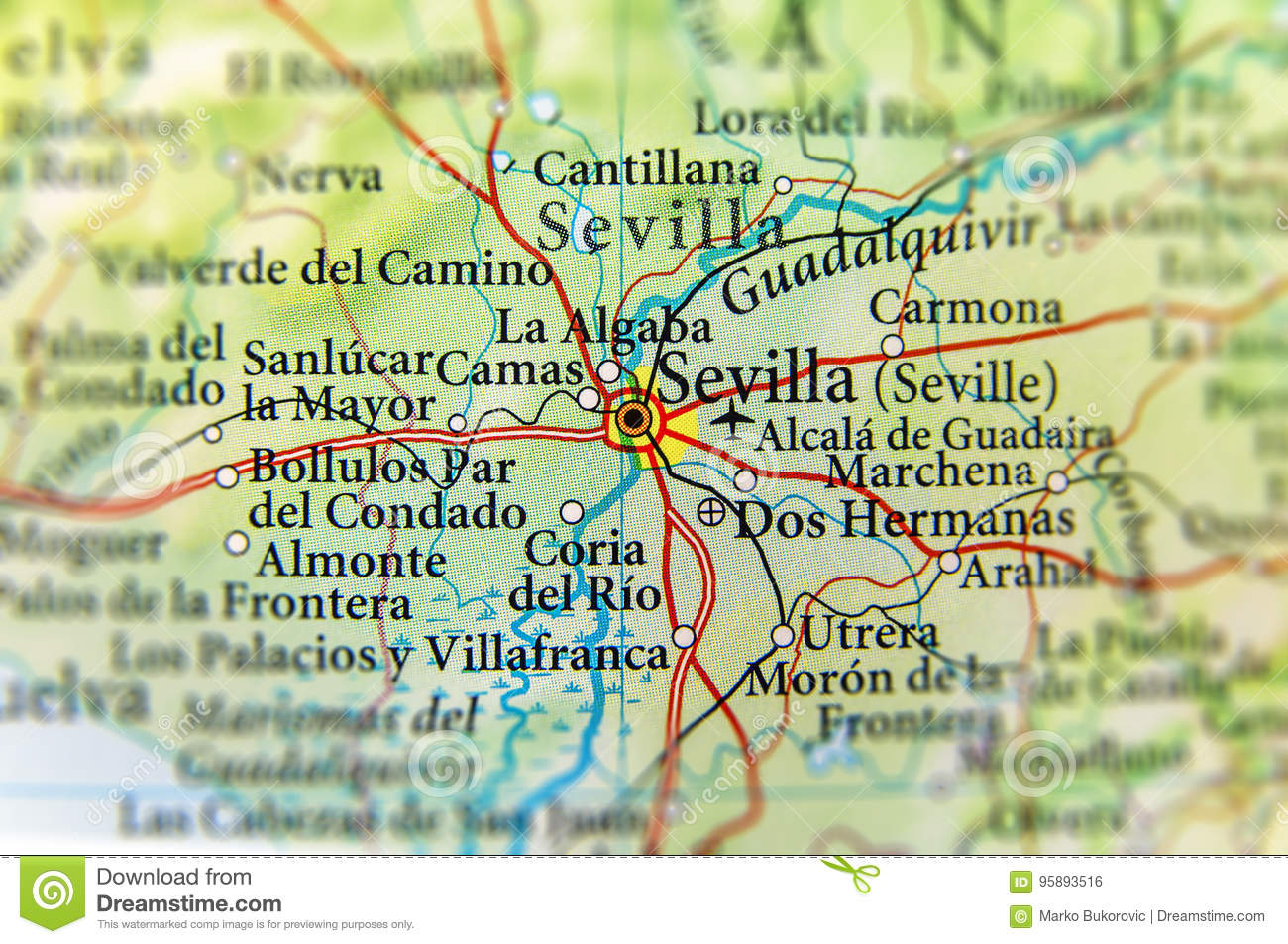 Geographic Map Of European Country Spain With Sevilla City Stock