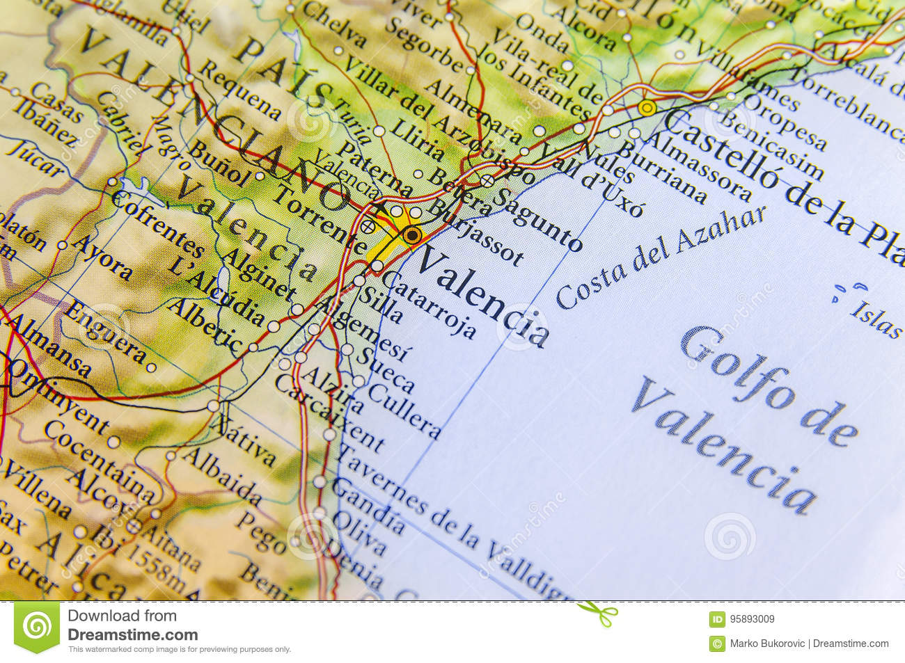 Costa De Azahar Spain Map.Geographic Map Of European Country Spain With Valencia City Stock