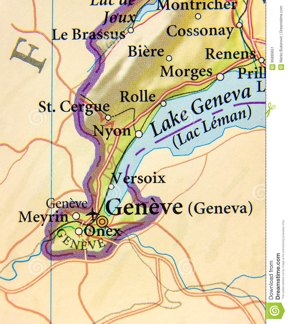 Geographic Map Of European Country Switzerland With Geneva City