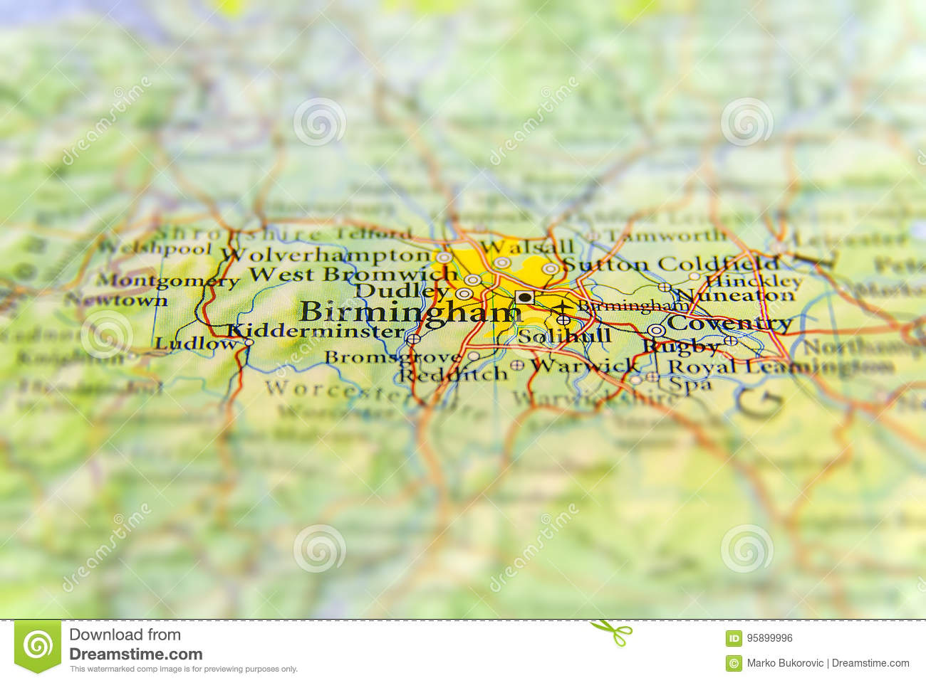 Geographic Map Of England.Geographic Map Of European Country Uk With Birmingham City Stock