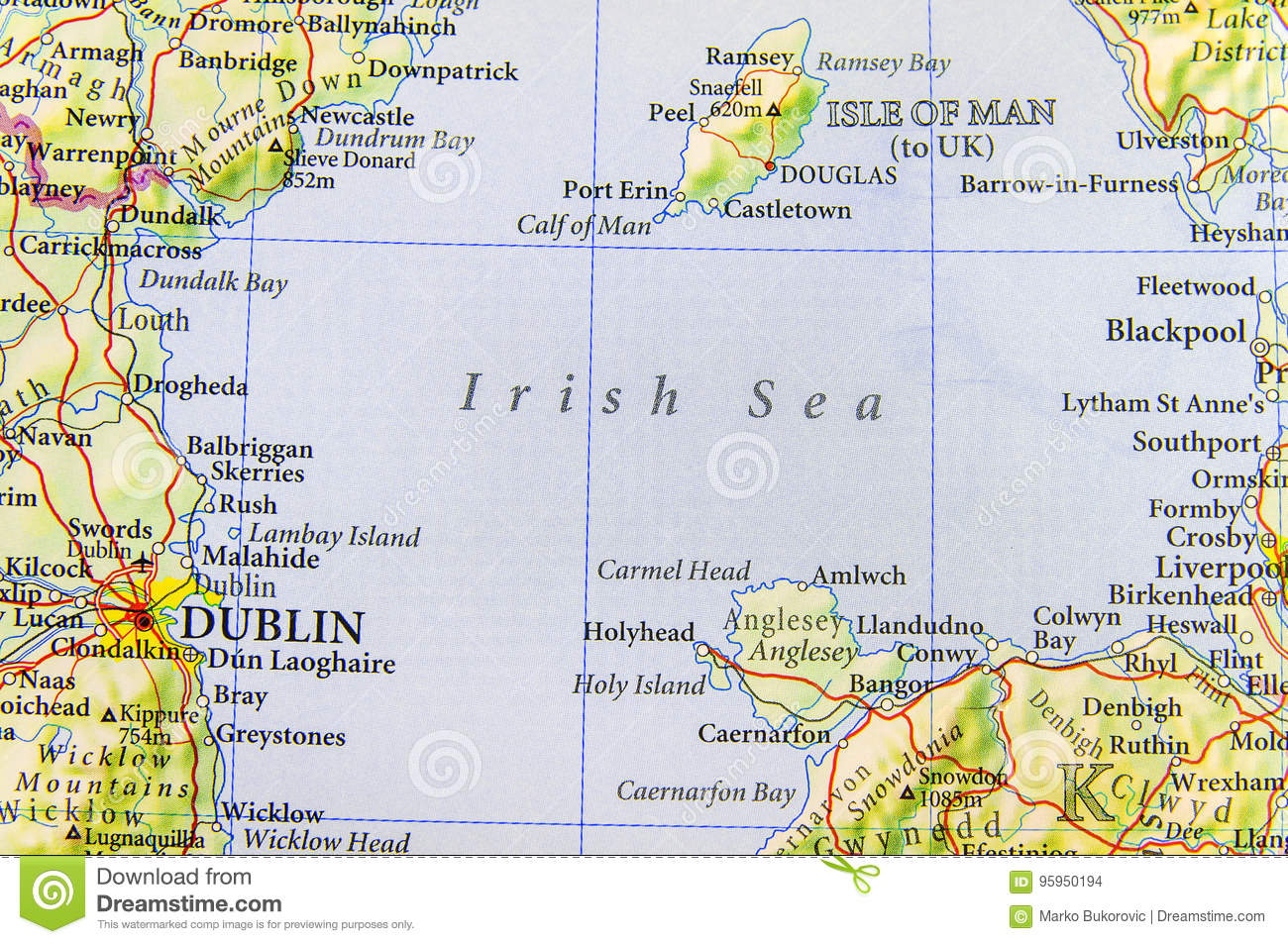 Geographic Map Of England.Geographic Map Of European Country Uk With Irish Sea Stock Photo
