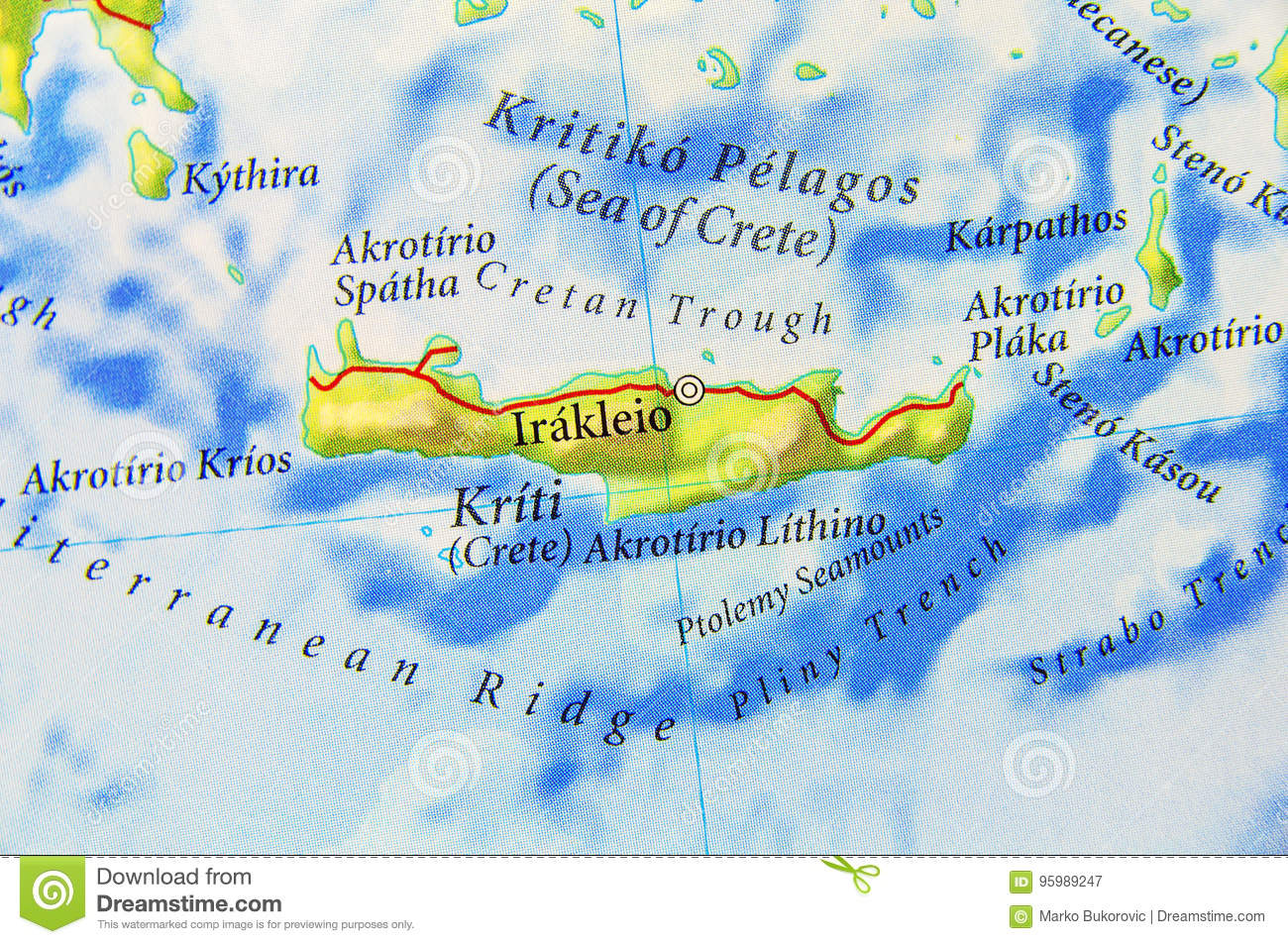 Picture of: Geographic Map Of European Greece Island Crete Stock Illustration Illustration Of Closeup Island 95989247