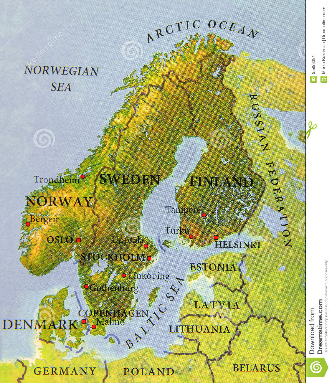 Norway On Map Of Europe.Geographic Map Of European Scandinavian Part Close Stock Image