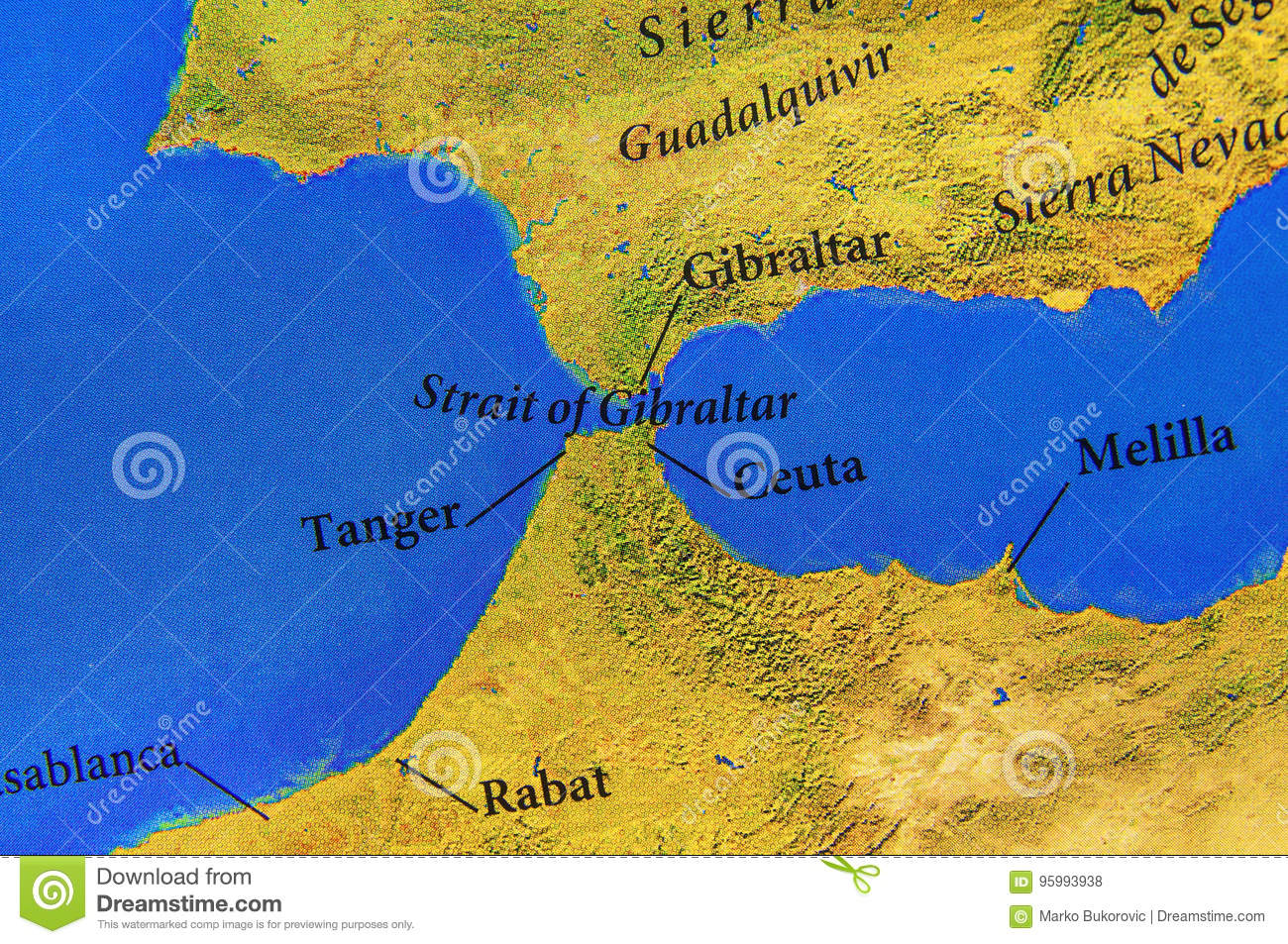 Geographic Map Of European Strait Of Gibraltar Stock Photo Image