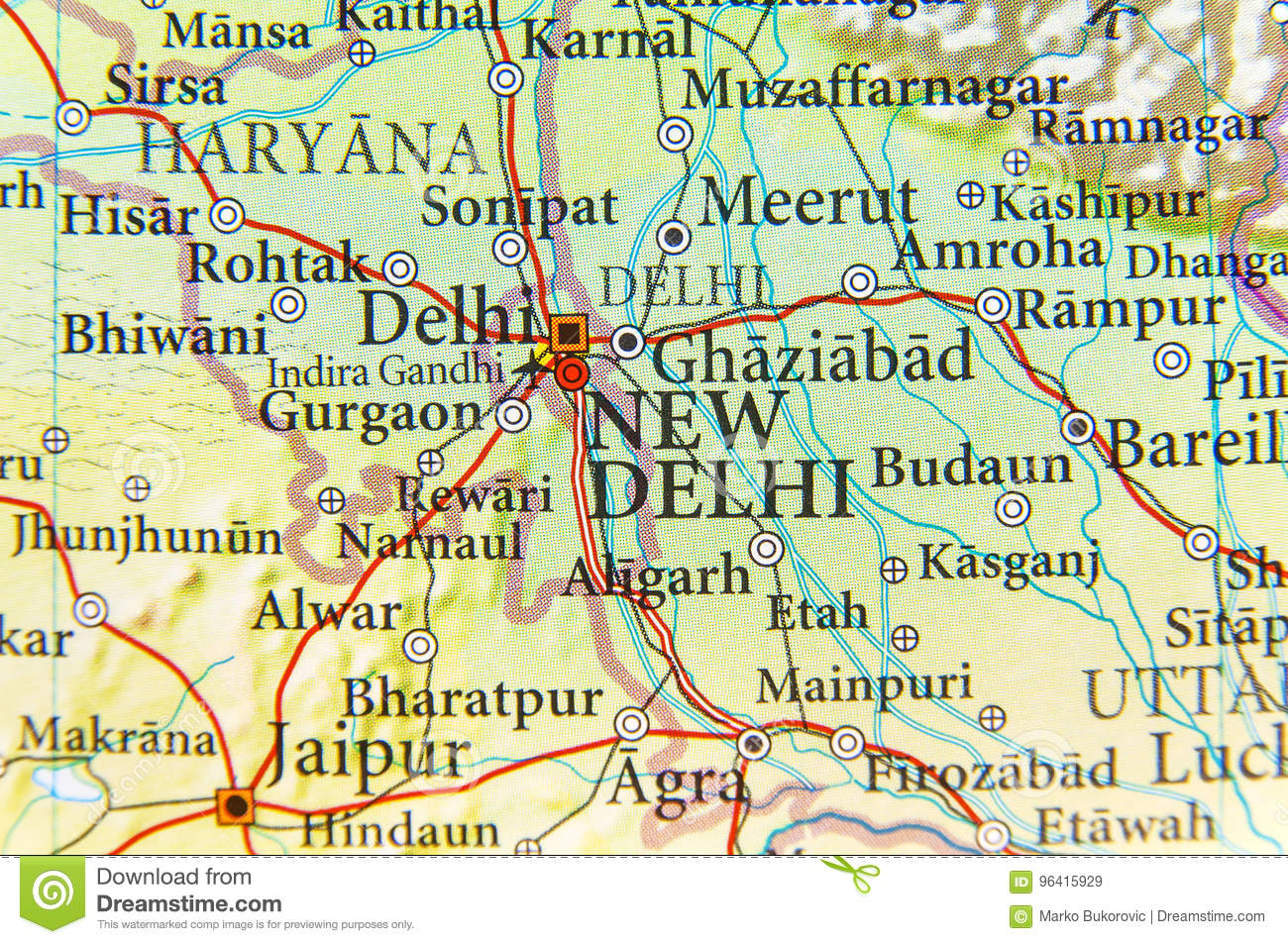 Geographic Map Of India Capital City New Delhi Stock Image Image Of Location Europe 96415929