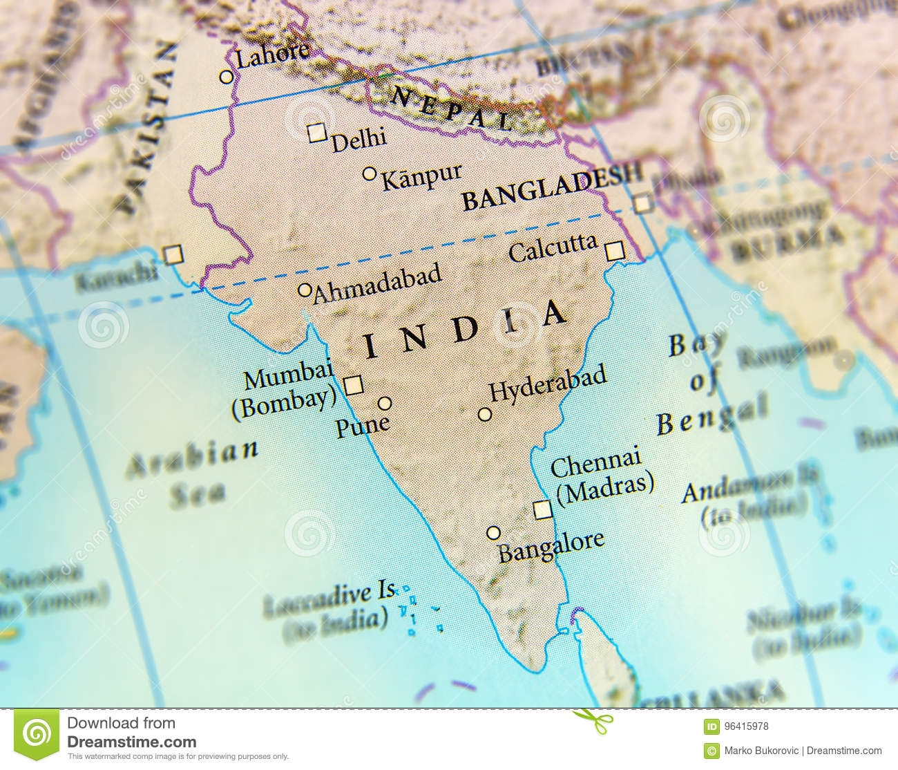 Geographic Map Of India Country With Important Cities Stock Photo