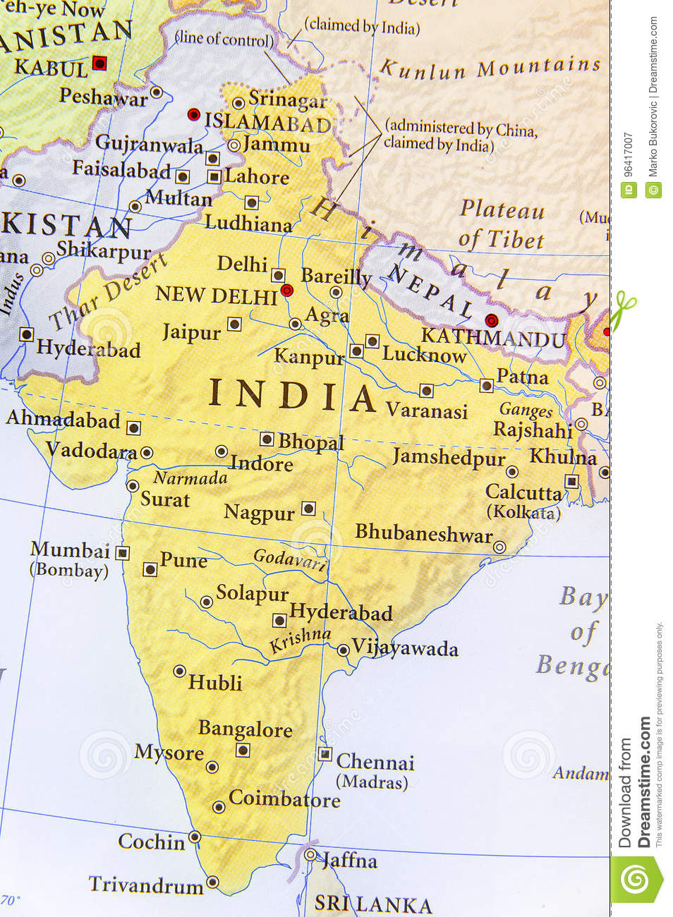Geographic Map Of India With Important Cities Stock Image Image Of