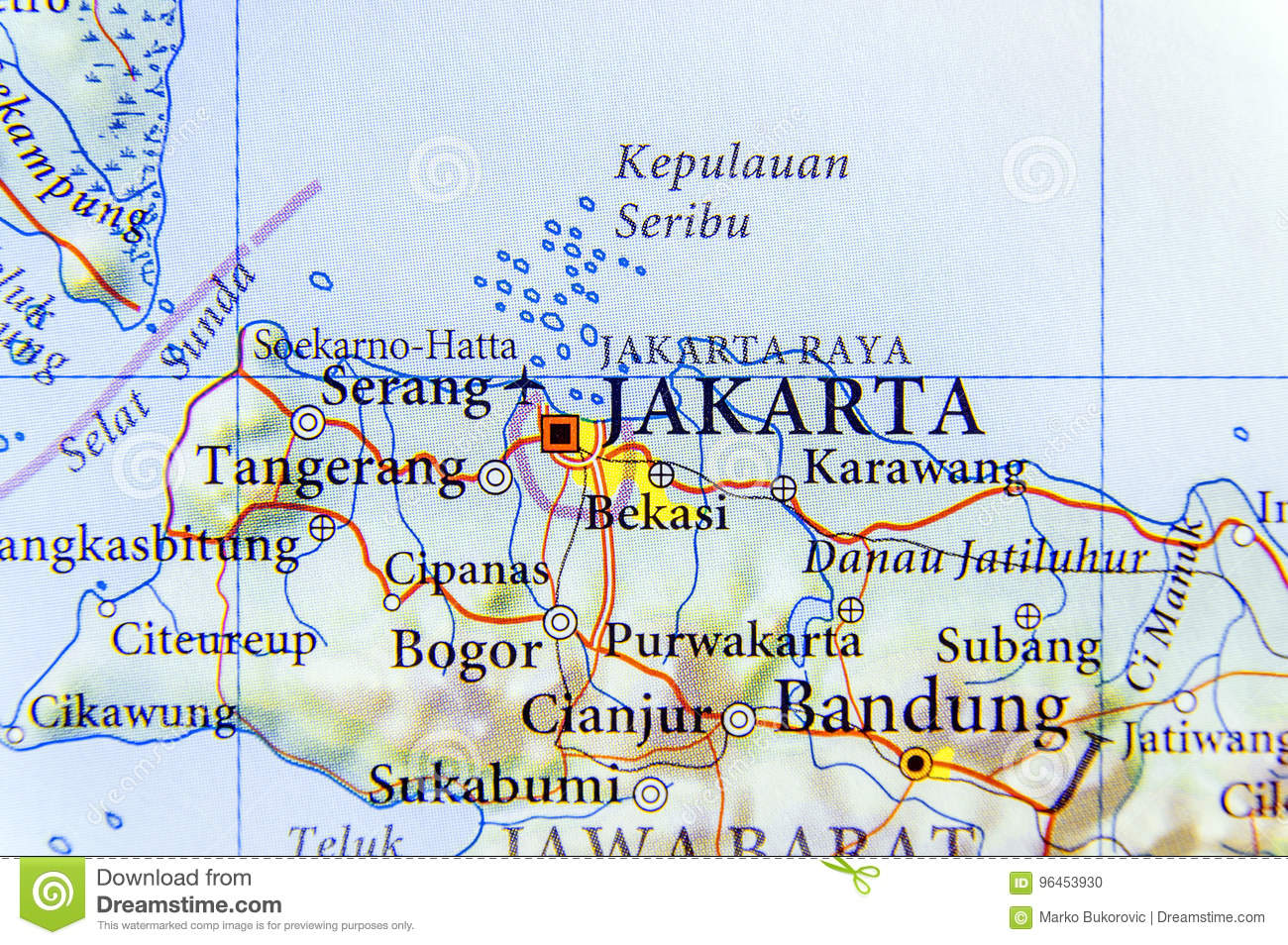 Geographic Map Of Indonesia Capital City Jakarta Stock Photo Image Of Target Tourism 96453930