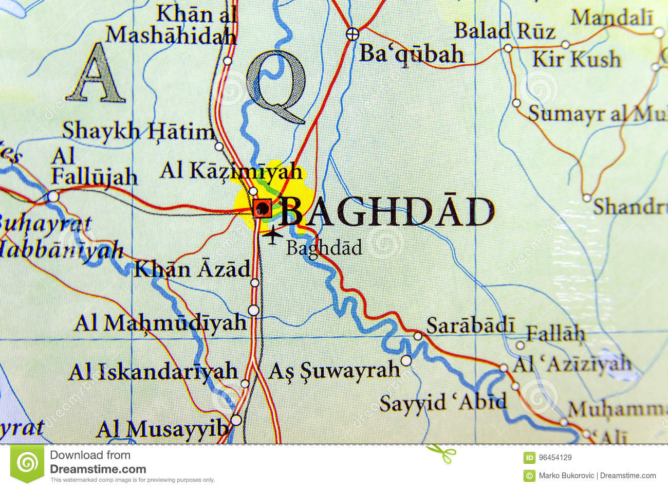 Geographic Map Of Iraq With Capital Baghdad City Stock Image ...