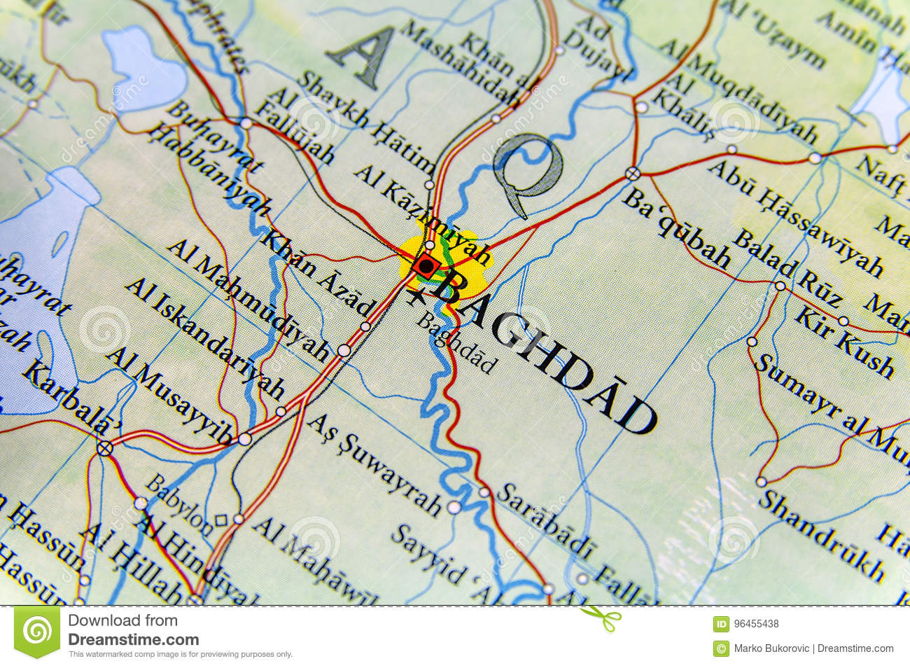 Geographic Map Of Iraq With Capital Baghdad City Stock Photo - Image ...