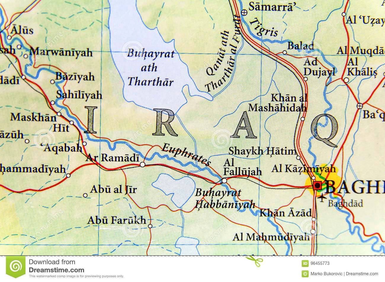 Geographic Map Of Iraq With Important Cities Stock Image - Image of ...