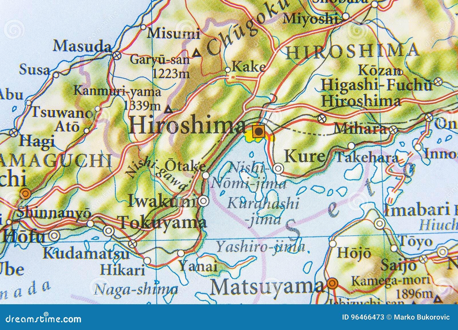 Hiroshima Map Of Japan.Geographic Map Of Japan With City Hiroshima Stock Image Image Of