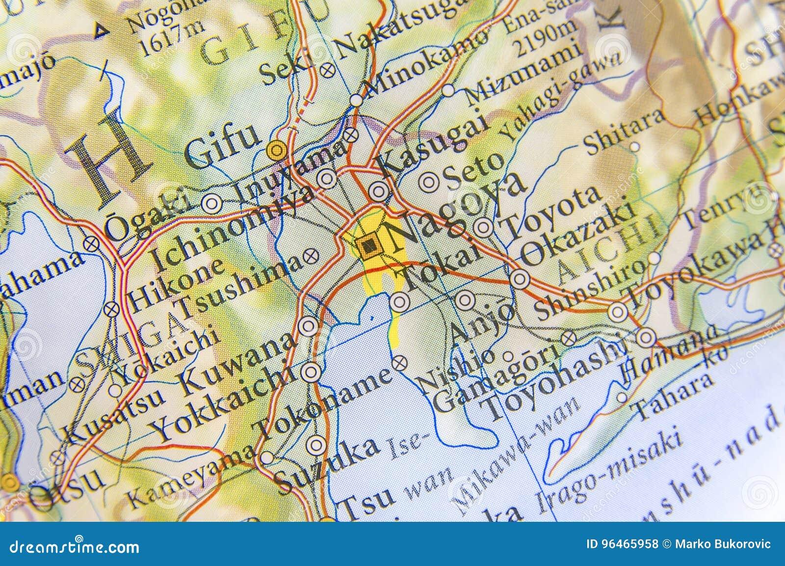 Geographic Map Of Japan City Nagoya Stock Photo - Image of tourism ...