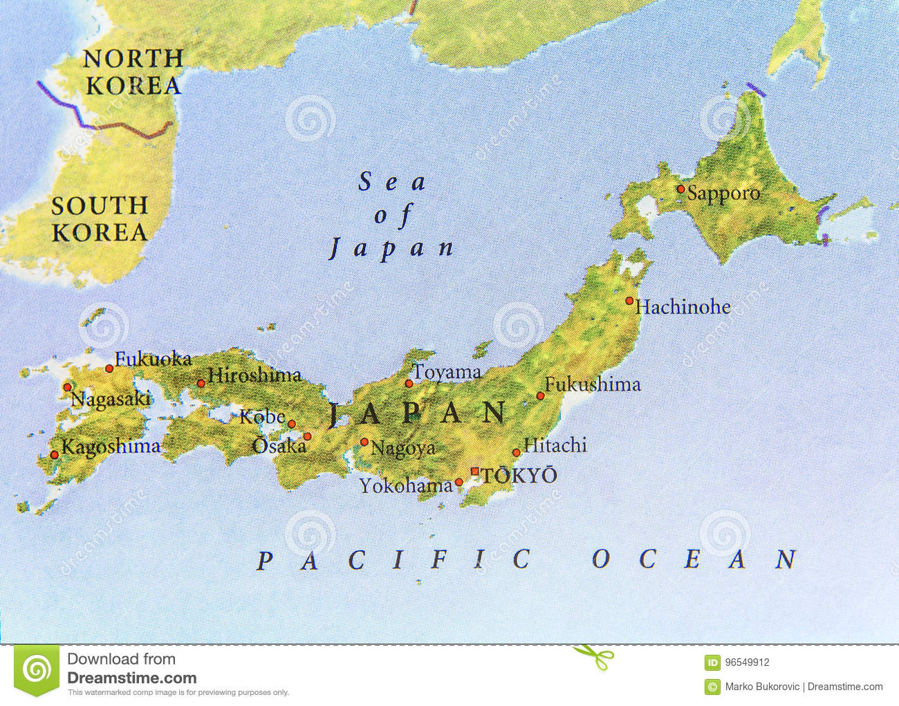 Geographic Map Of Japan With Important Cities Stock Photo - Image of ...