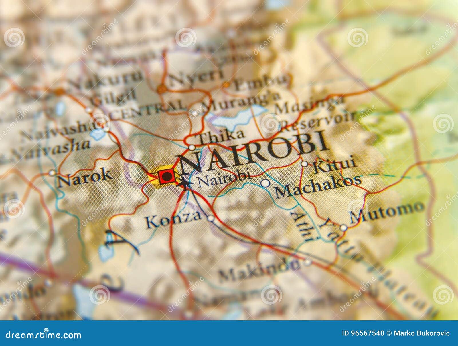 Geographic Map Of Kenya With Capital City Nairobi Stock Photo ...