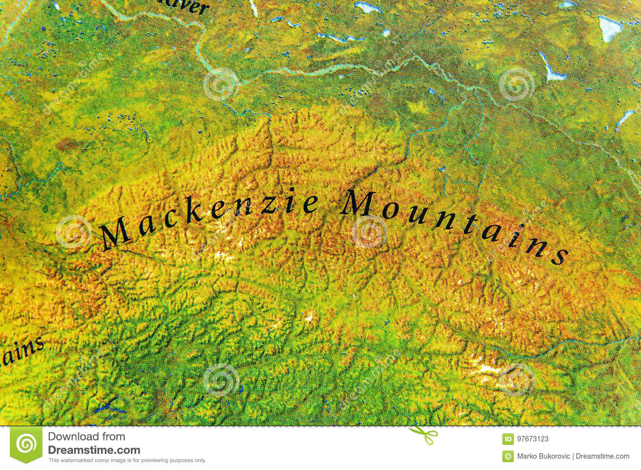 Geographic Map Of Mackenzie Mountains In Canada Country Stock