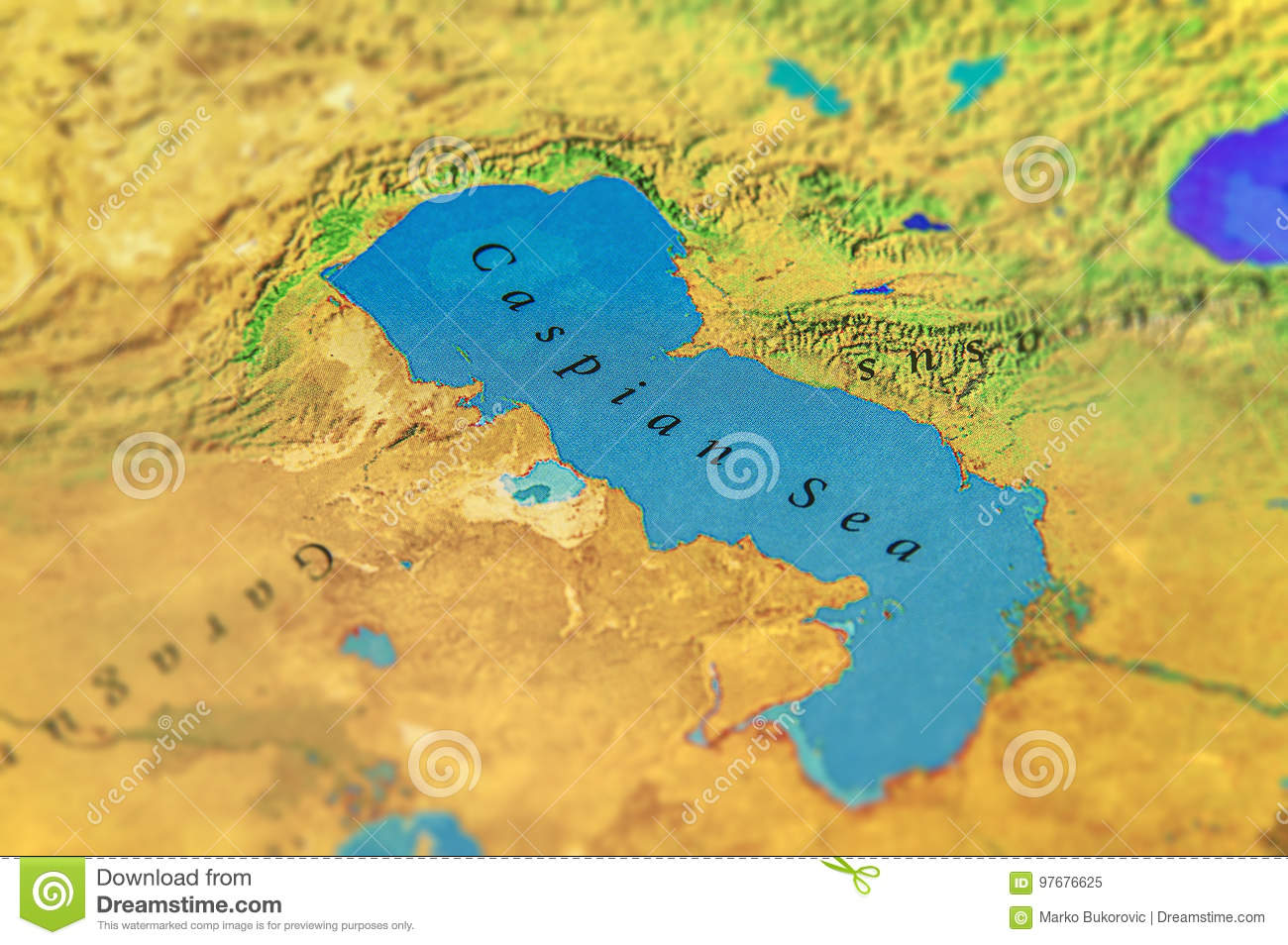 Geographic Map Of Midle East Caspian Sea Stock Image - Image ...