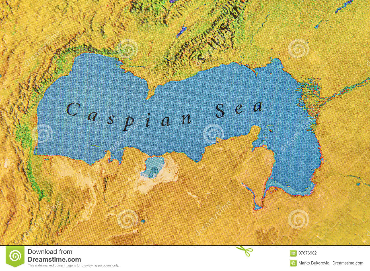 Geographic Map Of Midle East Caspian Sea Stock Photo - Image ...