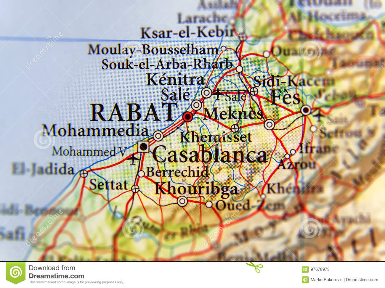 Geographic map of Morocco with capital city Rabat