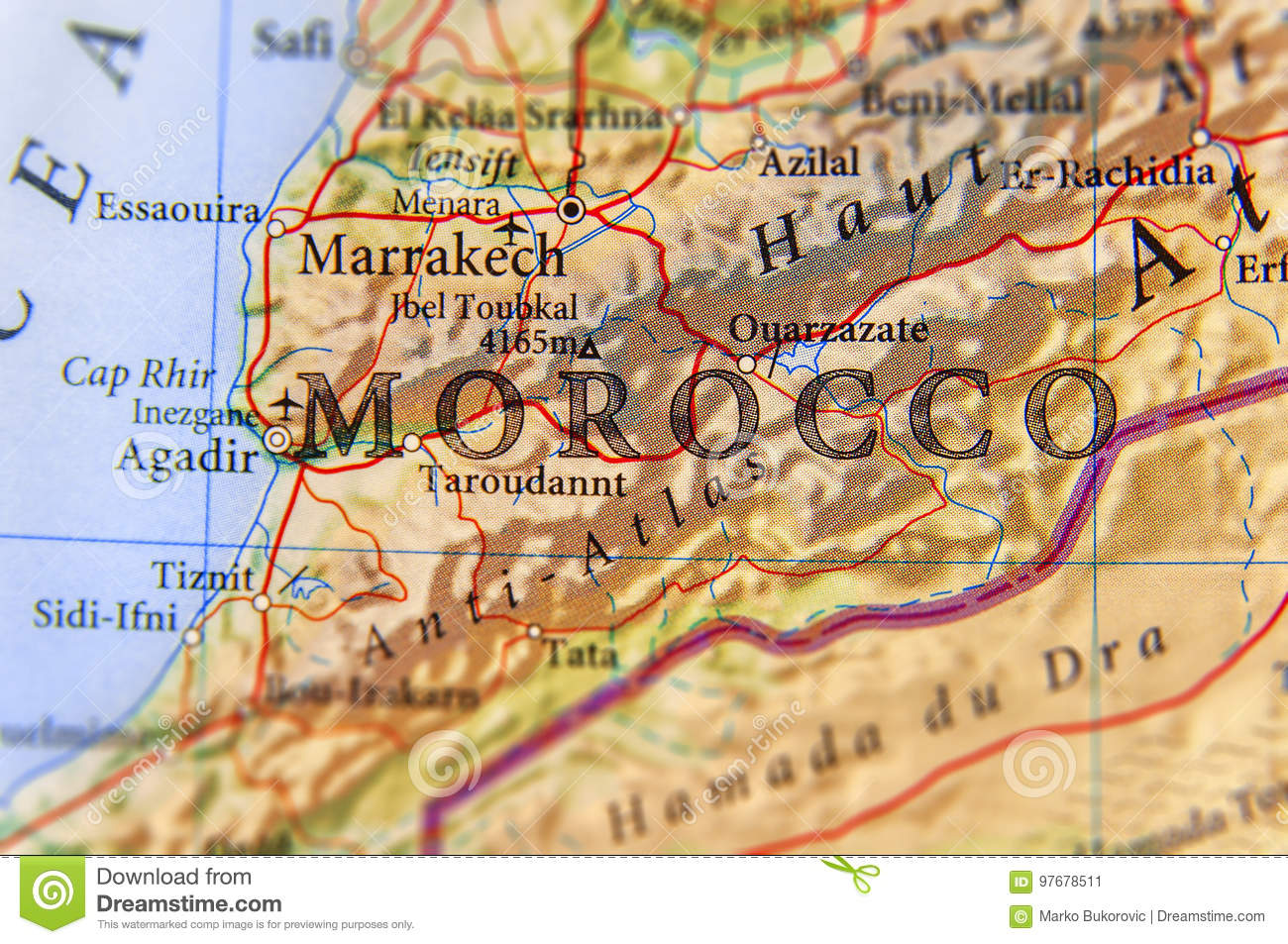 Geographic Map Of Morocco Country With Important Cities Stock Image ...