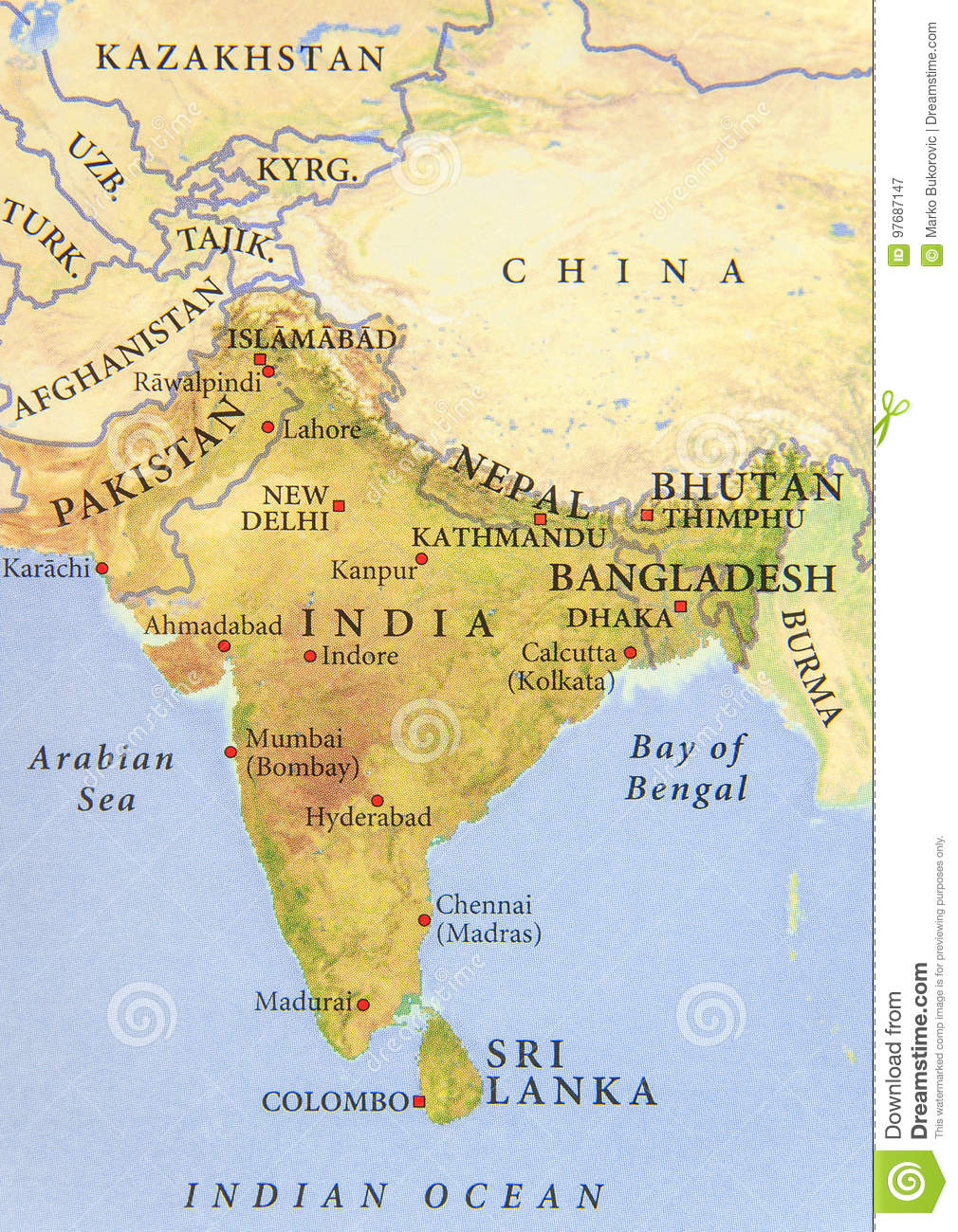 Geographic Map Of Pakistan India Nepal Bangladesh And Bhutan With